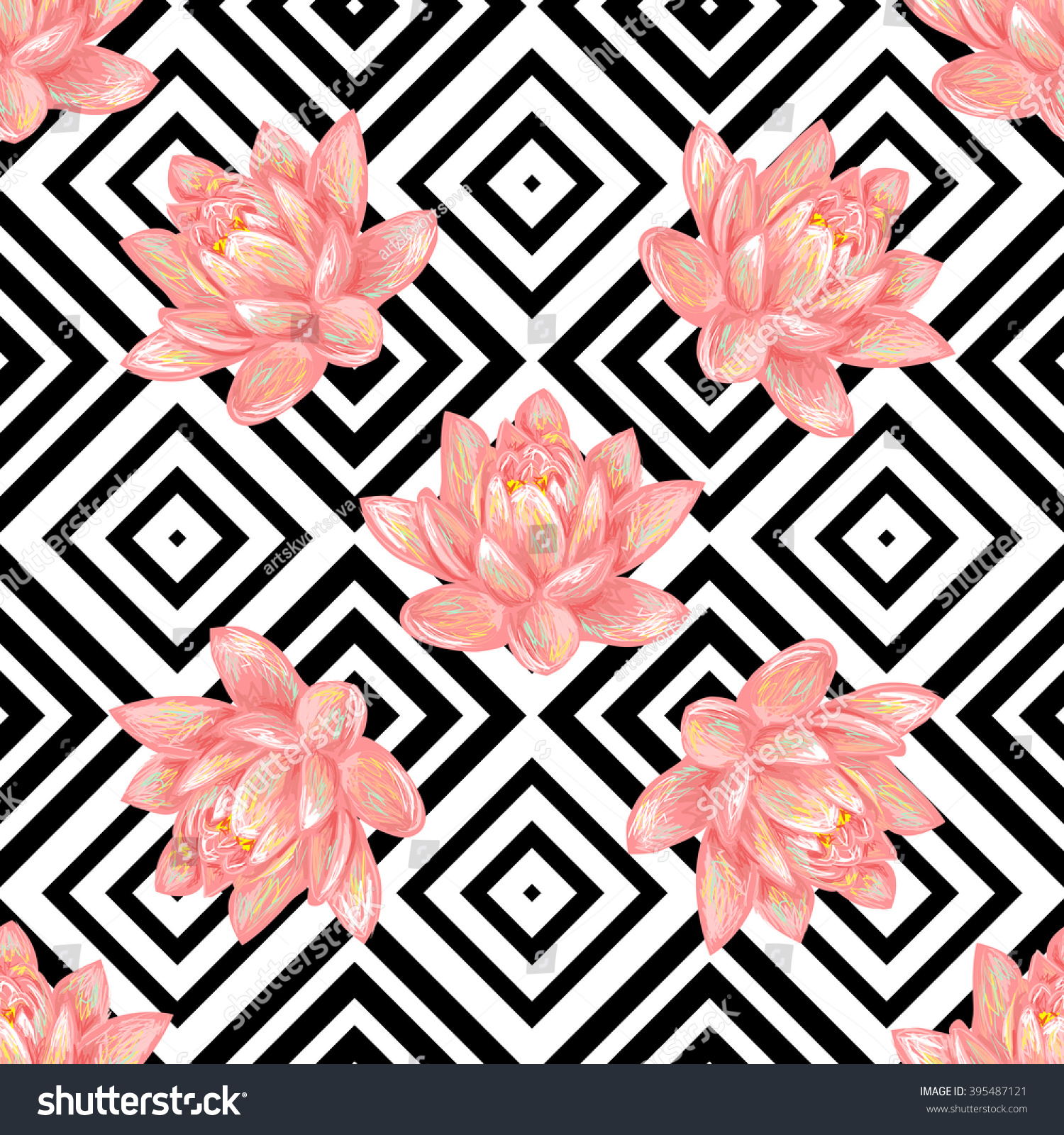 Seamless Floral Pattern Background Tropical Pink Stock