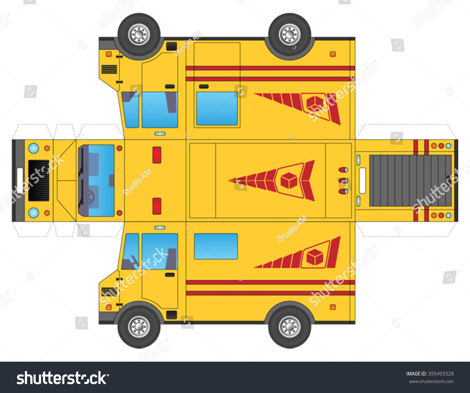parcel delivery truck template to cut out and glue into a 3d model stock vector illustration. Black Bedroom Furniture Sets. Home Design Ideas