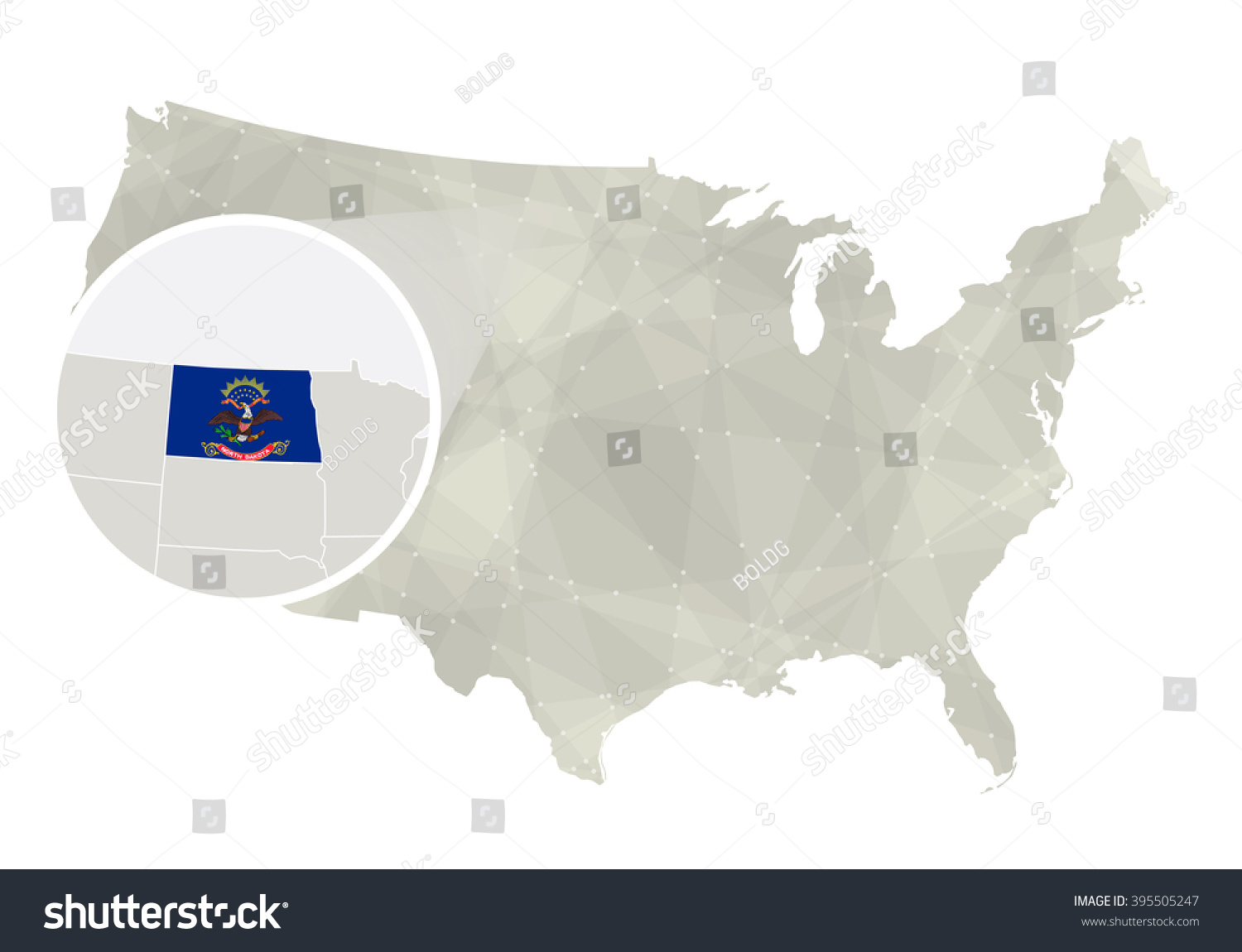 North Dakota In Us Map Polygonal Abstract Usa Map With Magnified - North dakota map usa
