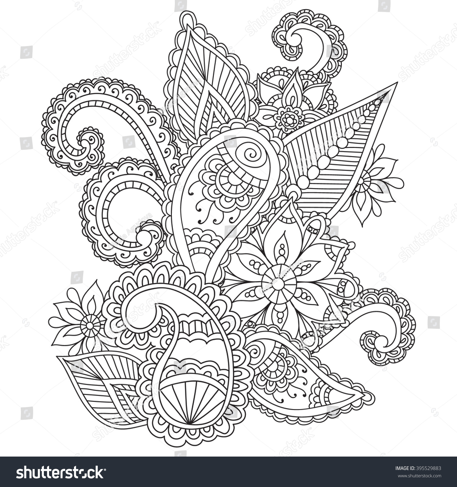 Coloring Pages Adults Henna Mehndi Doodles Stock Vector (Royalty ...