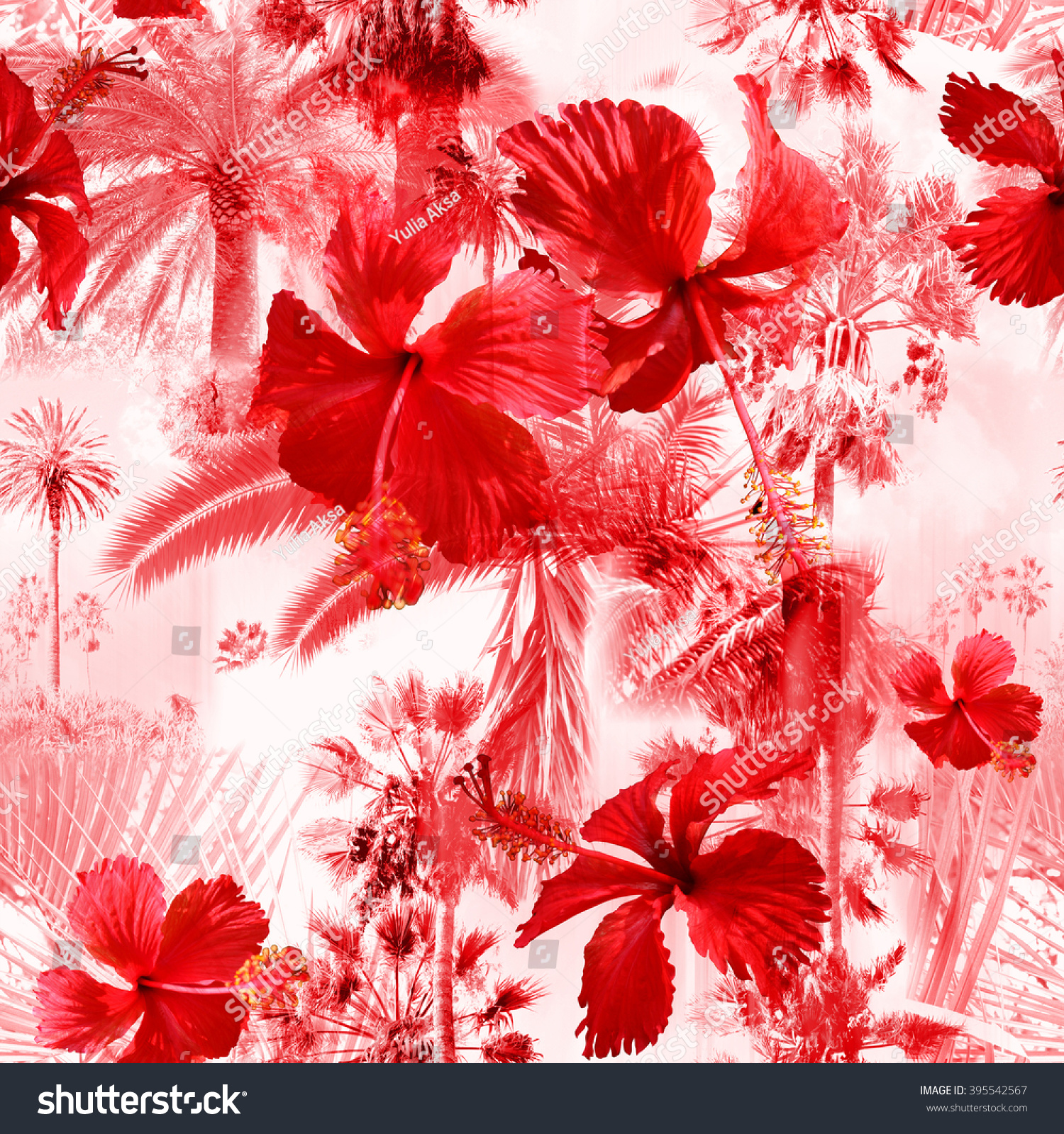 Red Palm Trees Seamless Pattern Colorful Background With Tropical Flowers Hibiscus Clip Art
