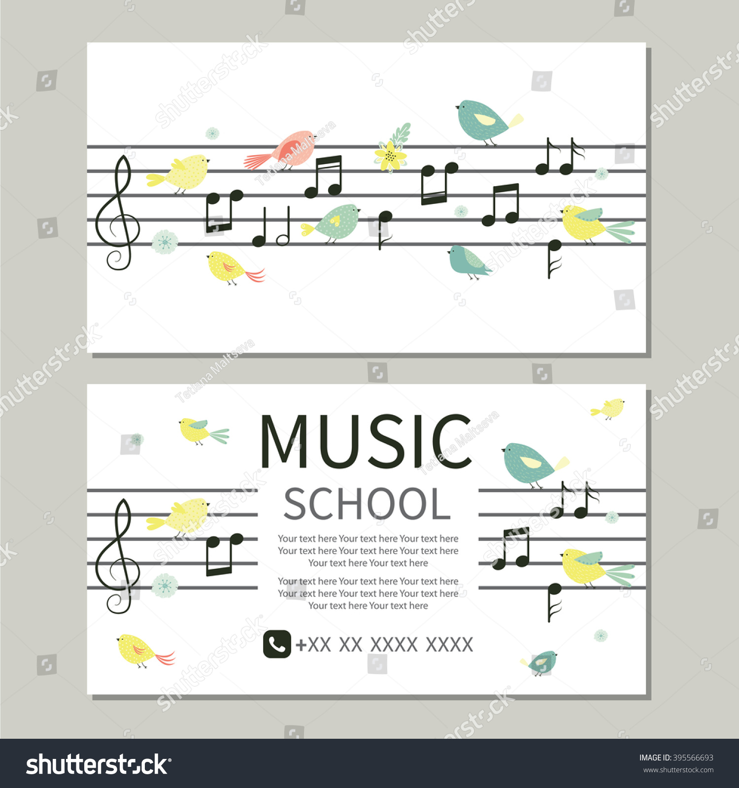 Business Card Music School Cute Design Stock Vector (2018) 395566693 ...