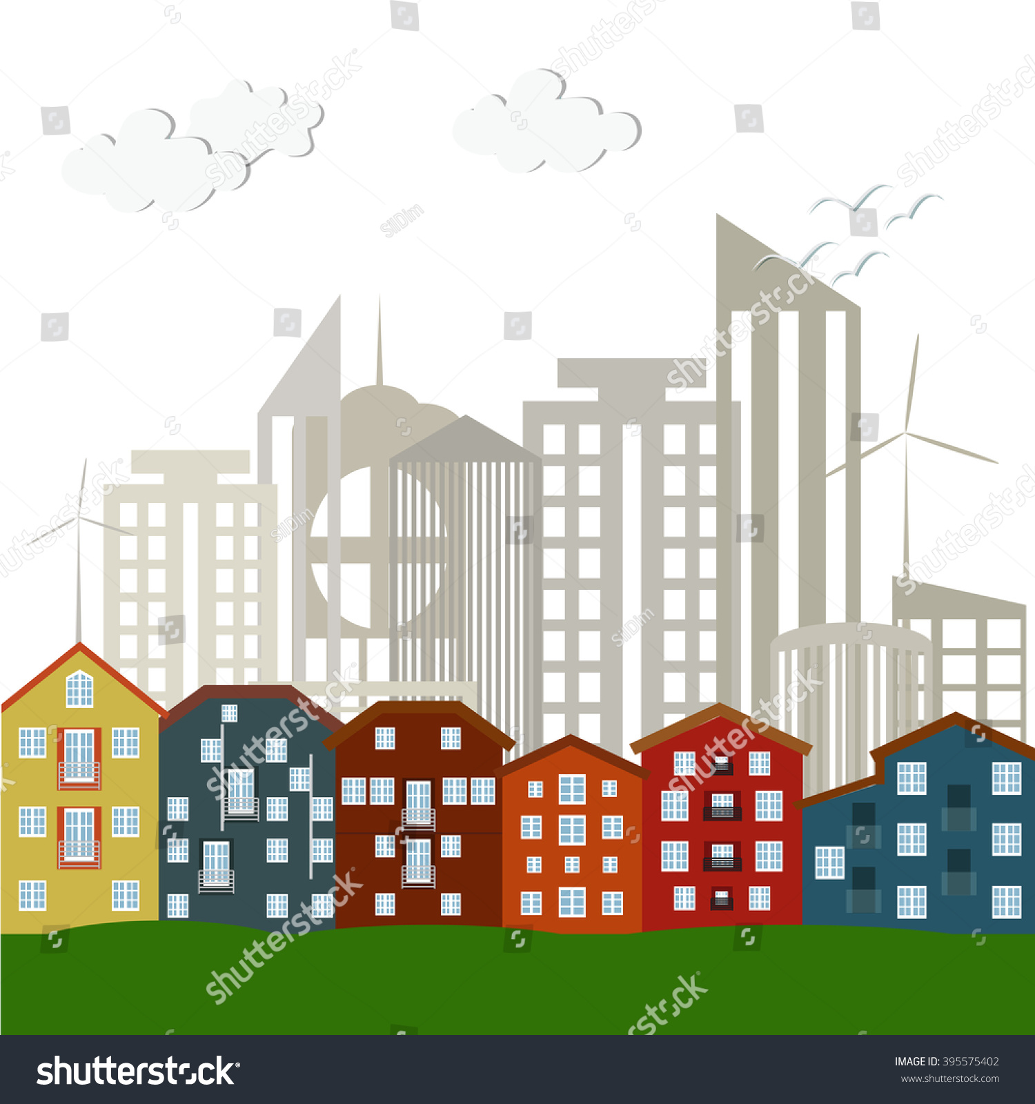 Modern Scandinavian Houses Colorful City Skyscrapers Stock Vector