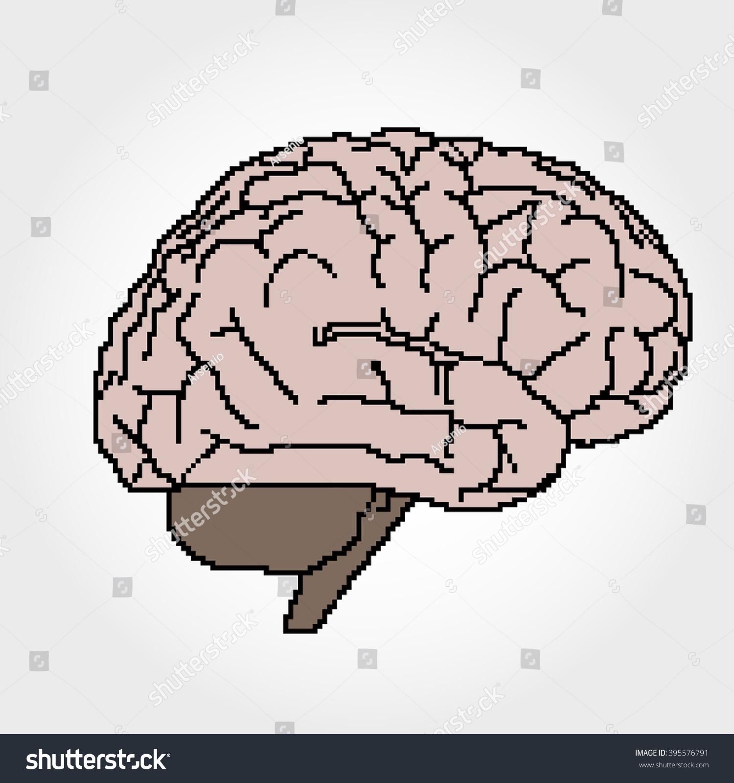 Awesome Human Brain In Pixel Art