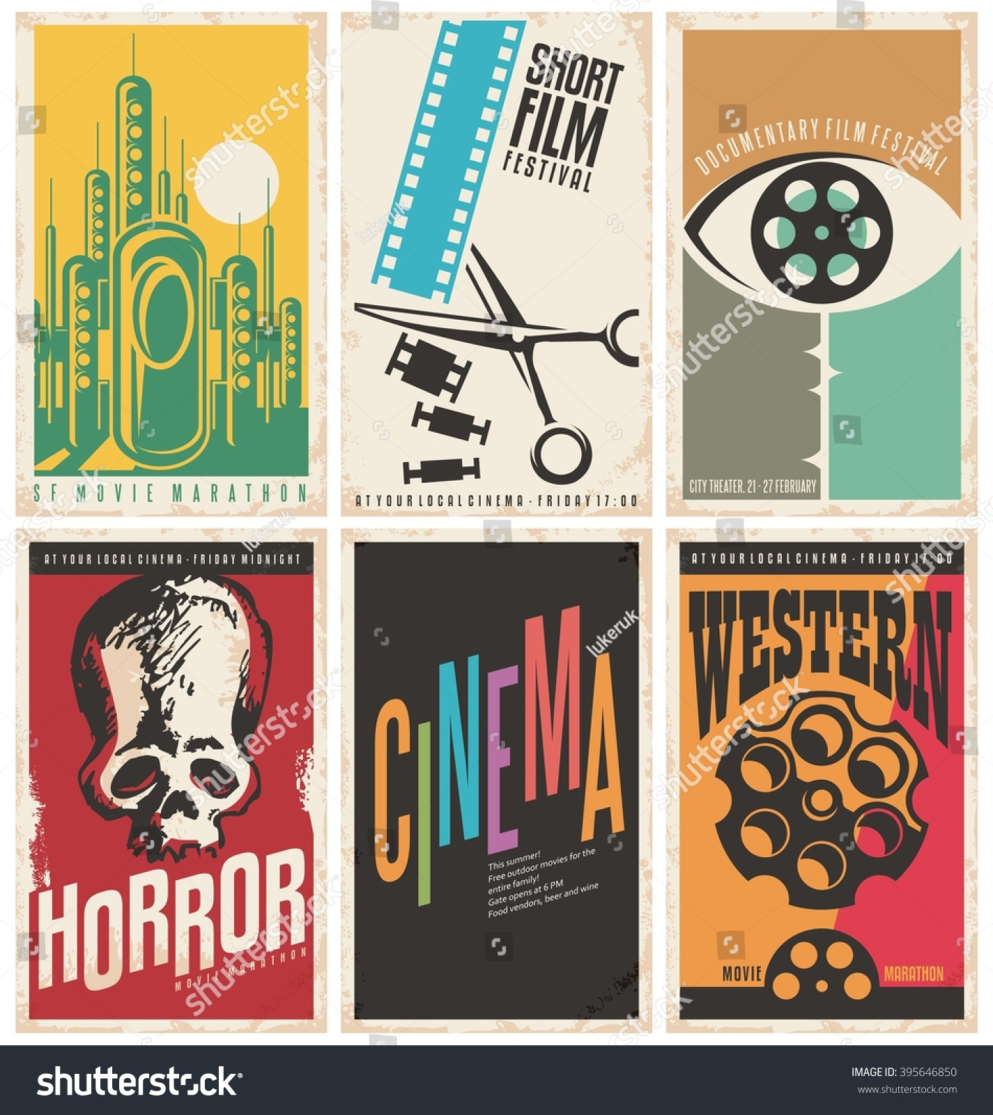 collection retro movie poster design concepts のベクター画像素材