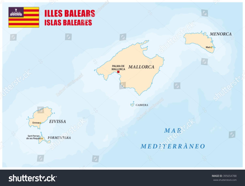 Balearic Islands Map Flag Stock Vector 395654788 Shutterstock