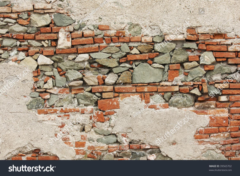 Old Brick Stone Wall Crumbling Plaster Stock Photo 39565702 Shutterstock
