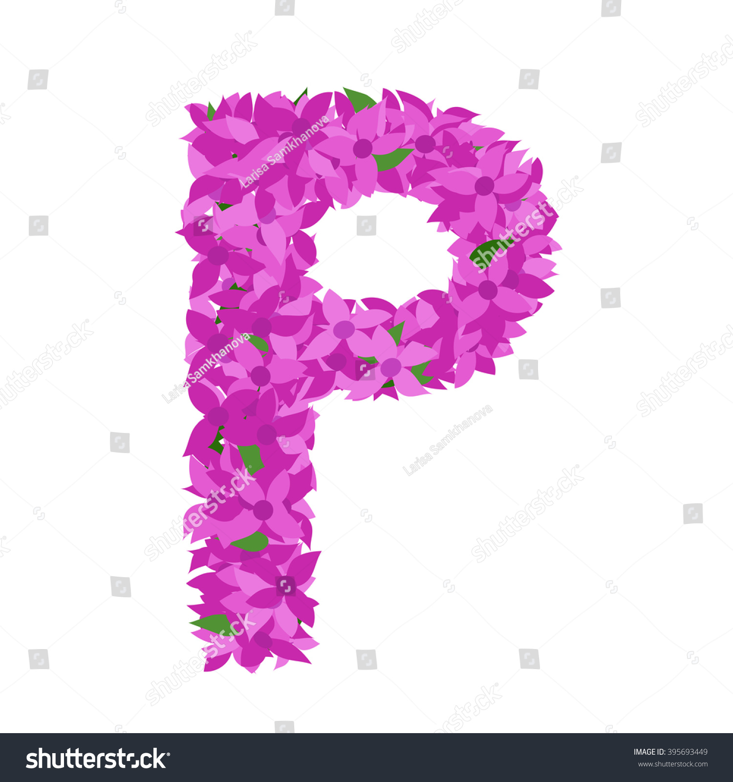 Letter P Lilac Flower Letter P Stock Vector (Royalty Free) 395693449 ...