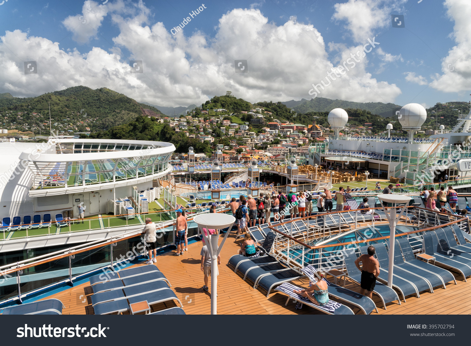 ST. GEORGE'S, GRENADA - FEBRUARY 2, 2015: Two large cruise ships full of tourists dock in Saint George's, Grenada which is a very popular tourist destination in winter.
