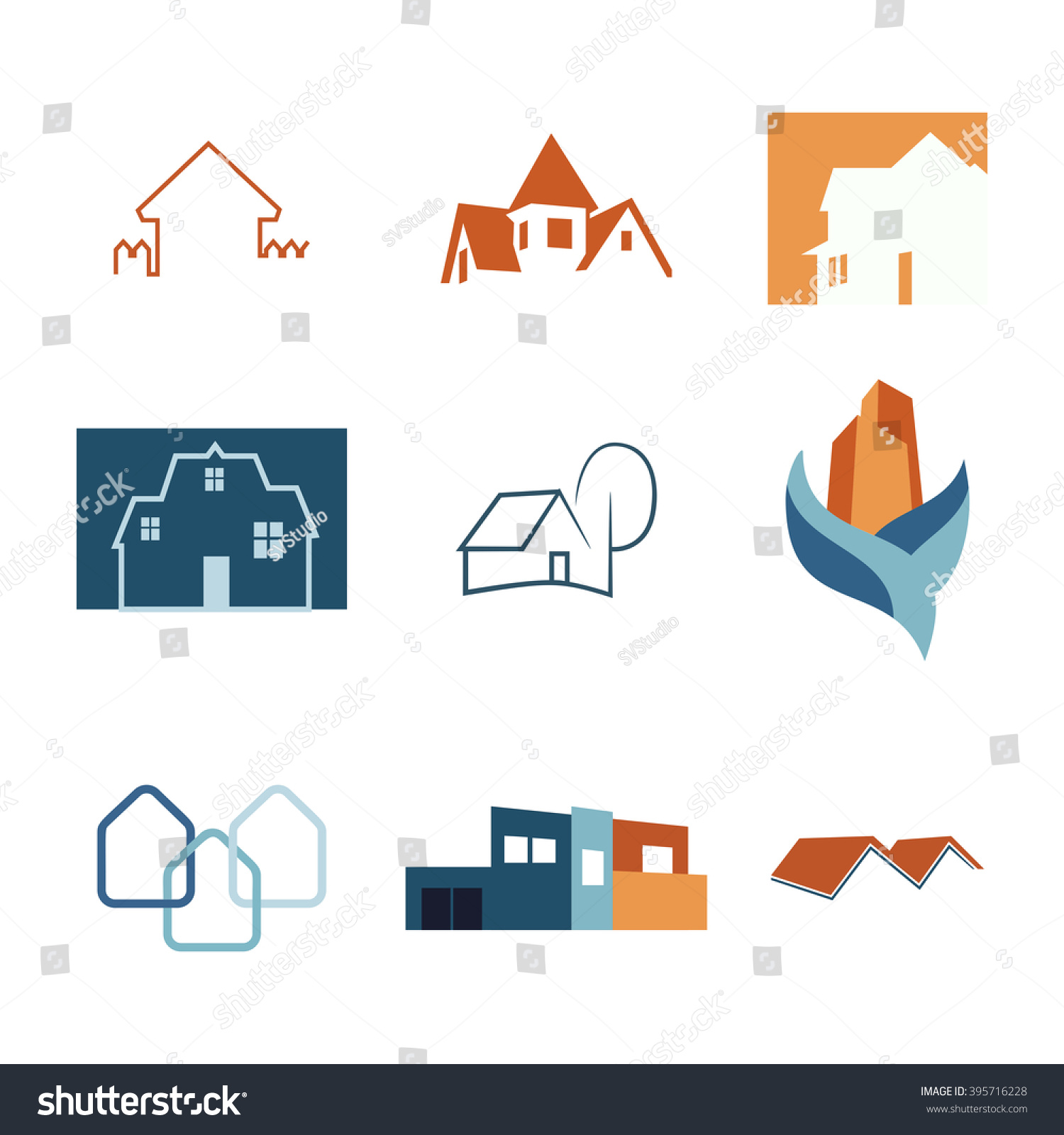 Real estate web icons set house stock vector 395716228 for House construction app