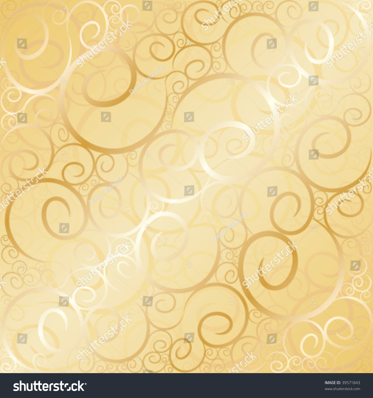 Old Gold Swirl Wallpaper Background Vector Illustration