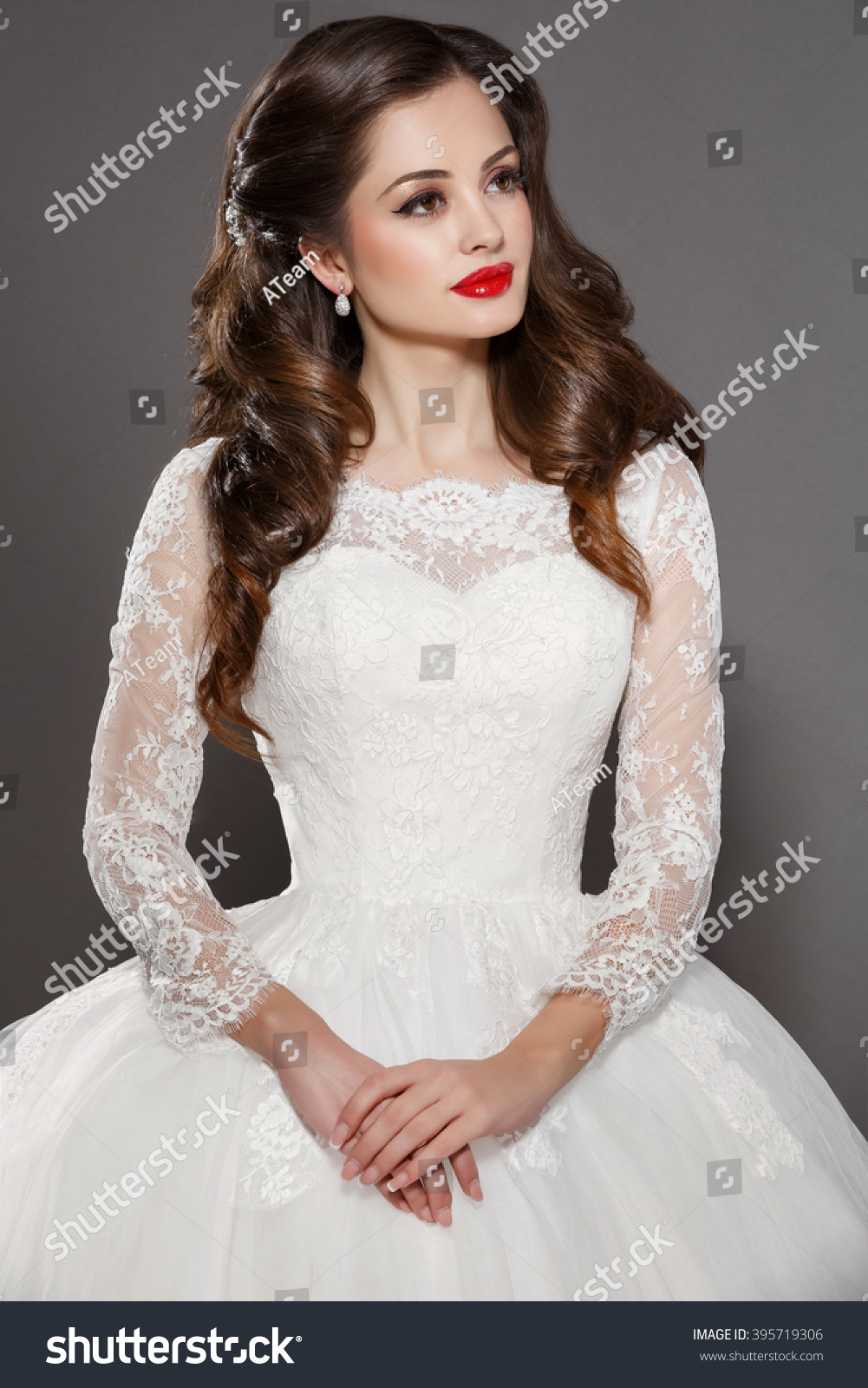Royalty-free Beautiful Bride Portrait wedding makeup… #395719306 ...