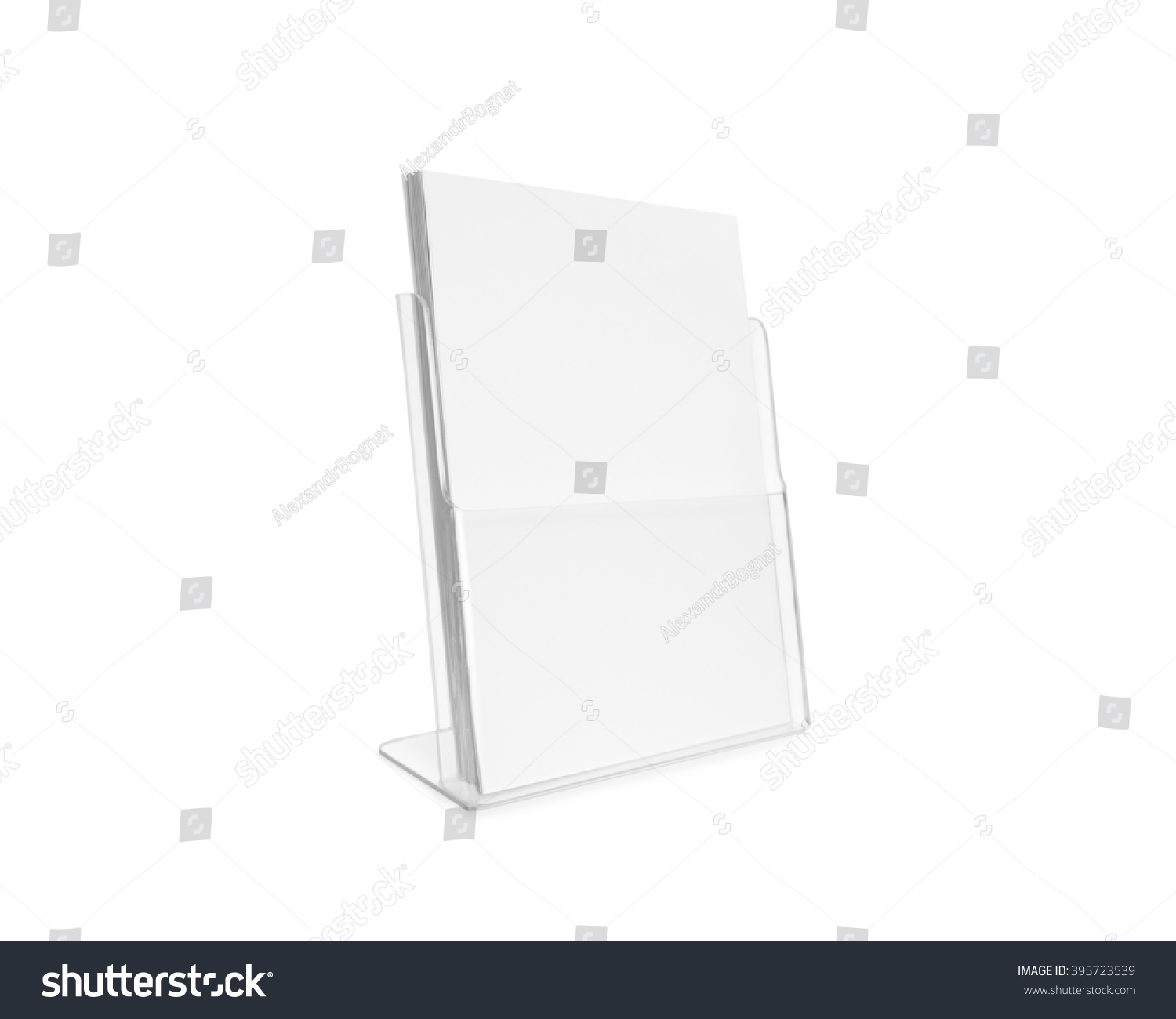 blank flyer mockup glass plastic transparent holder isolated plain flier stand clear brochure holding
