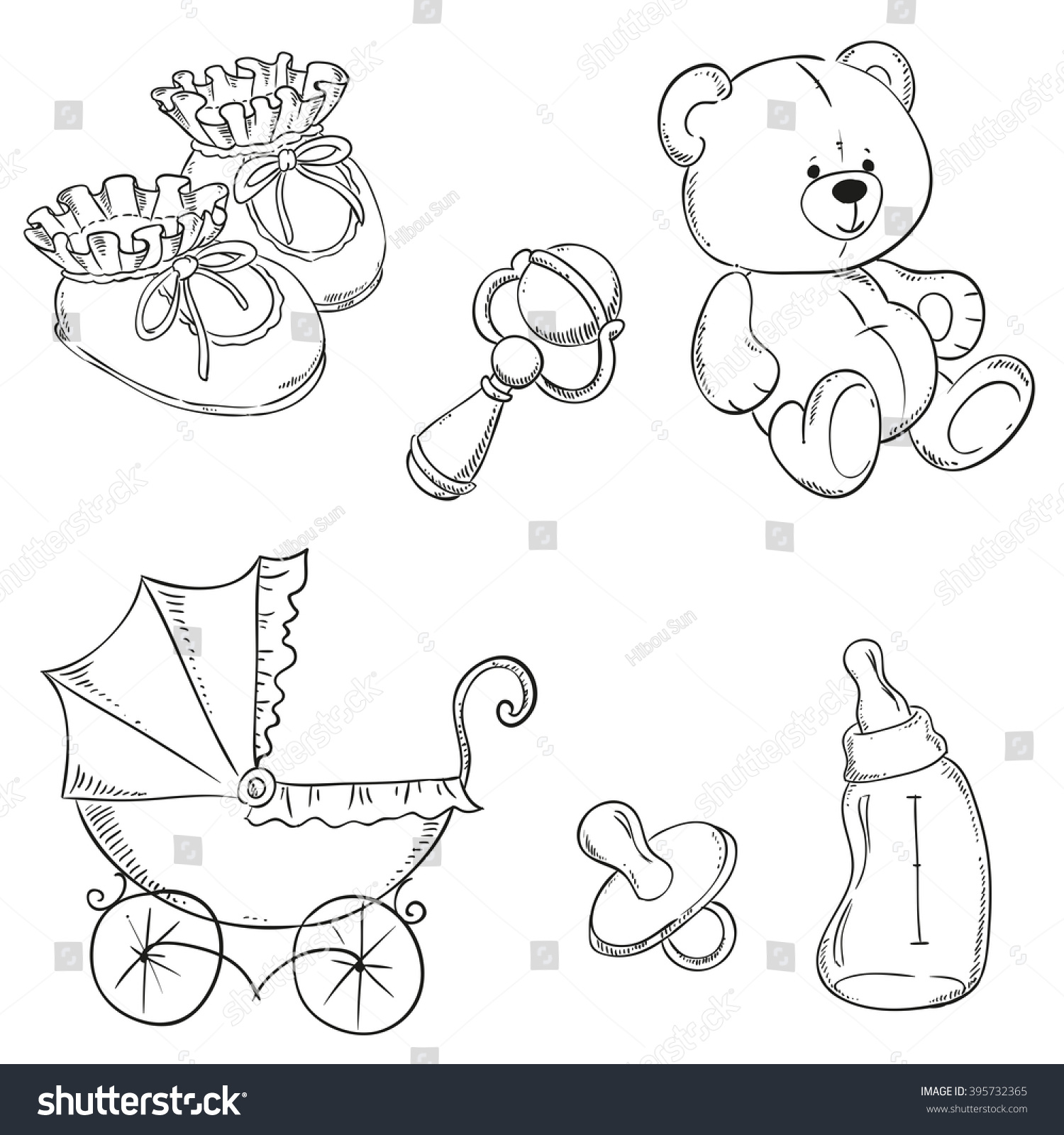 Coloring book page of a pacifier - Baby Stroller Pacifier Teddy Bear Bottle Booties