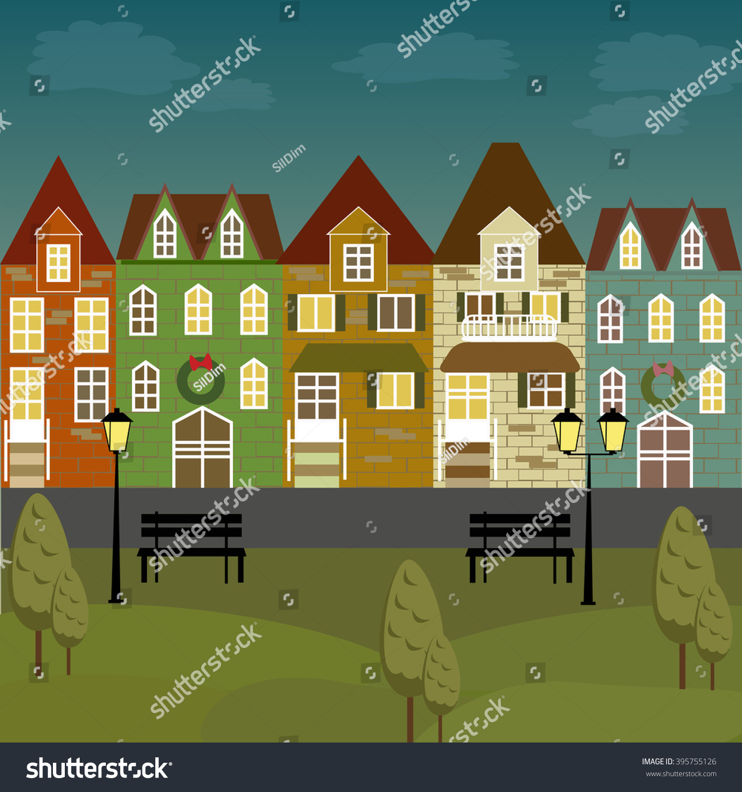 Apartment Buildings For Rent: Colorful Vintage Victorian City Apartments Rent Stock