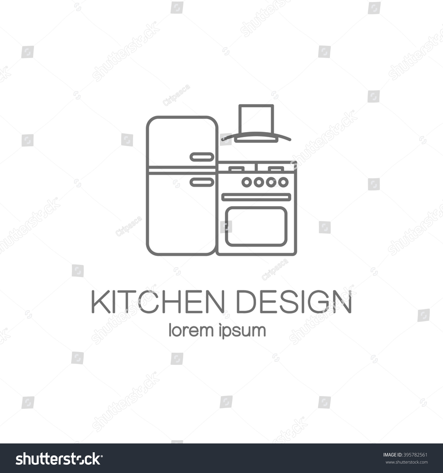 Kitchen Design Line Icon Web Logotype Design Templates. Modern Easy To Edit  Logo Template. Part 49