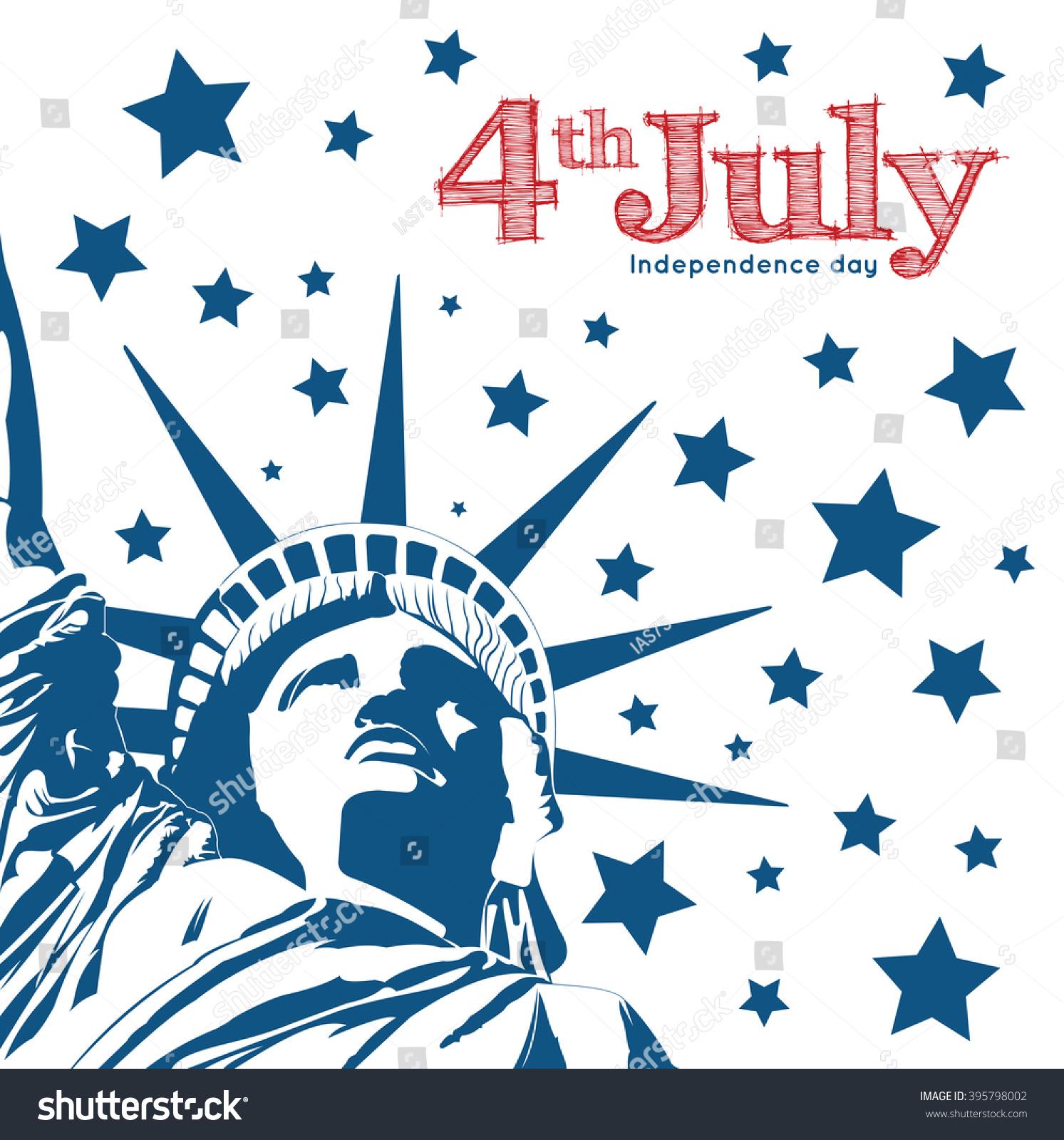 Statue Liberty Symbol Freedom Democracy Independence Stock Vector