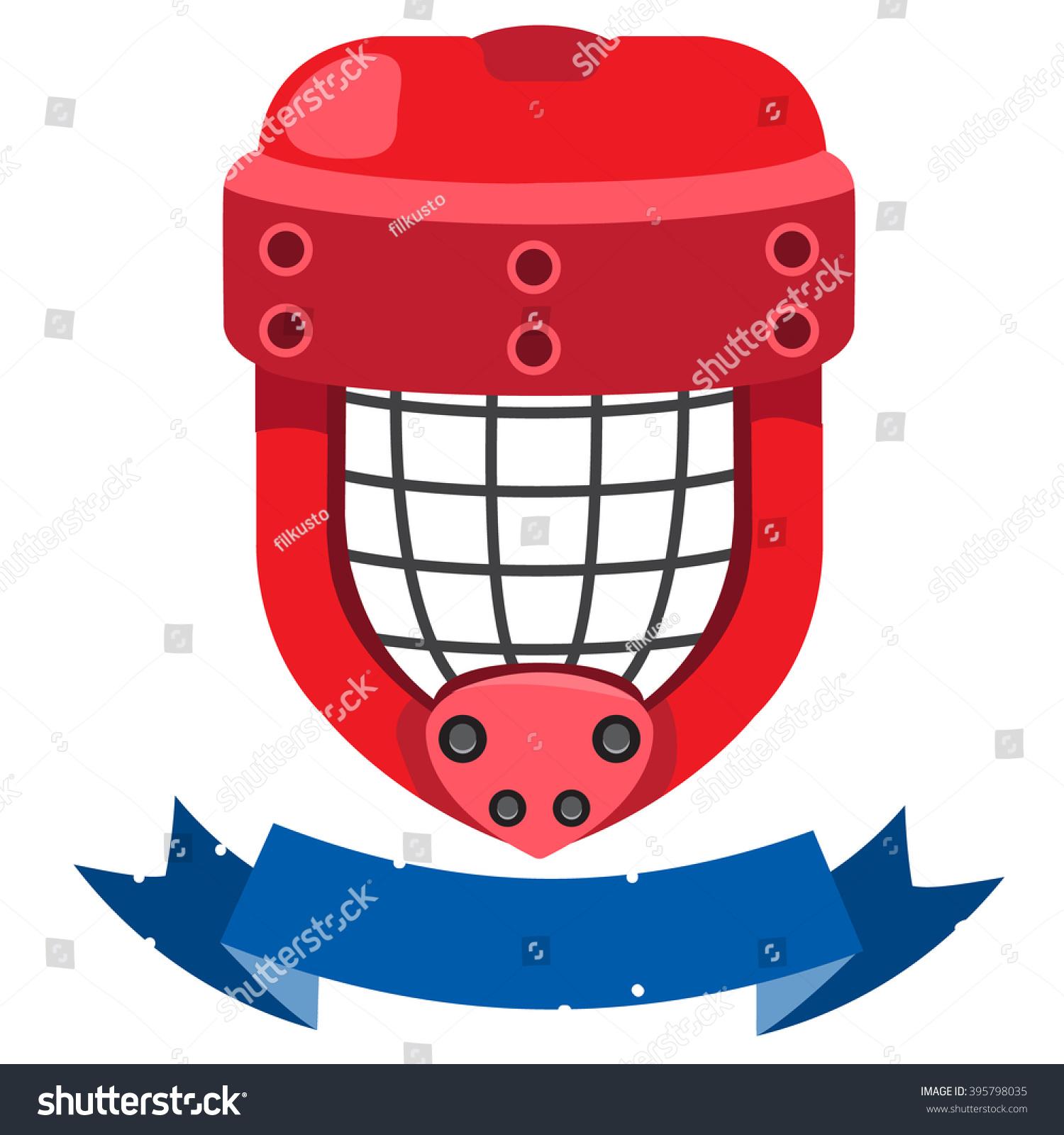 Goalkeeper Mask Banner Inscription Hockey Ammunition Stock Vector