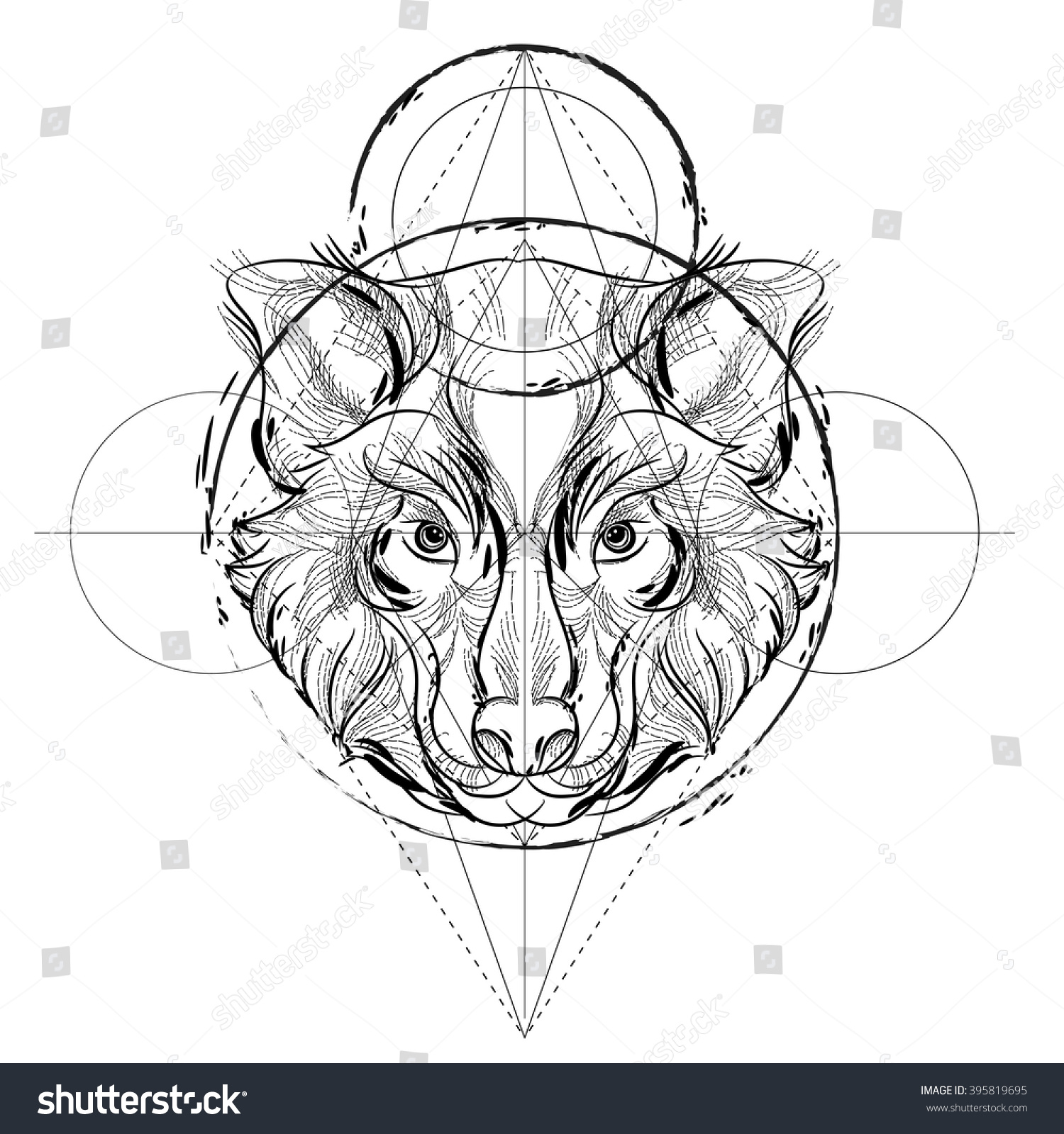 Tiger head triangular icon geometric trendy stock vector image - Animal Head Icon Geometric Trendy Line Design Vector Illustration Ready For Tattoo Or Coloring