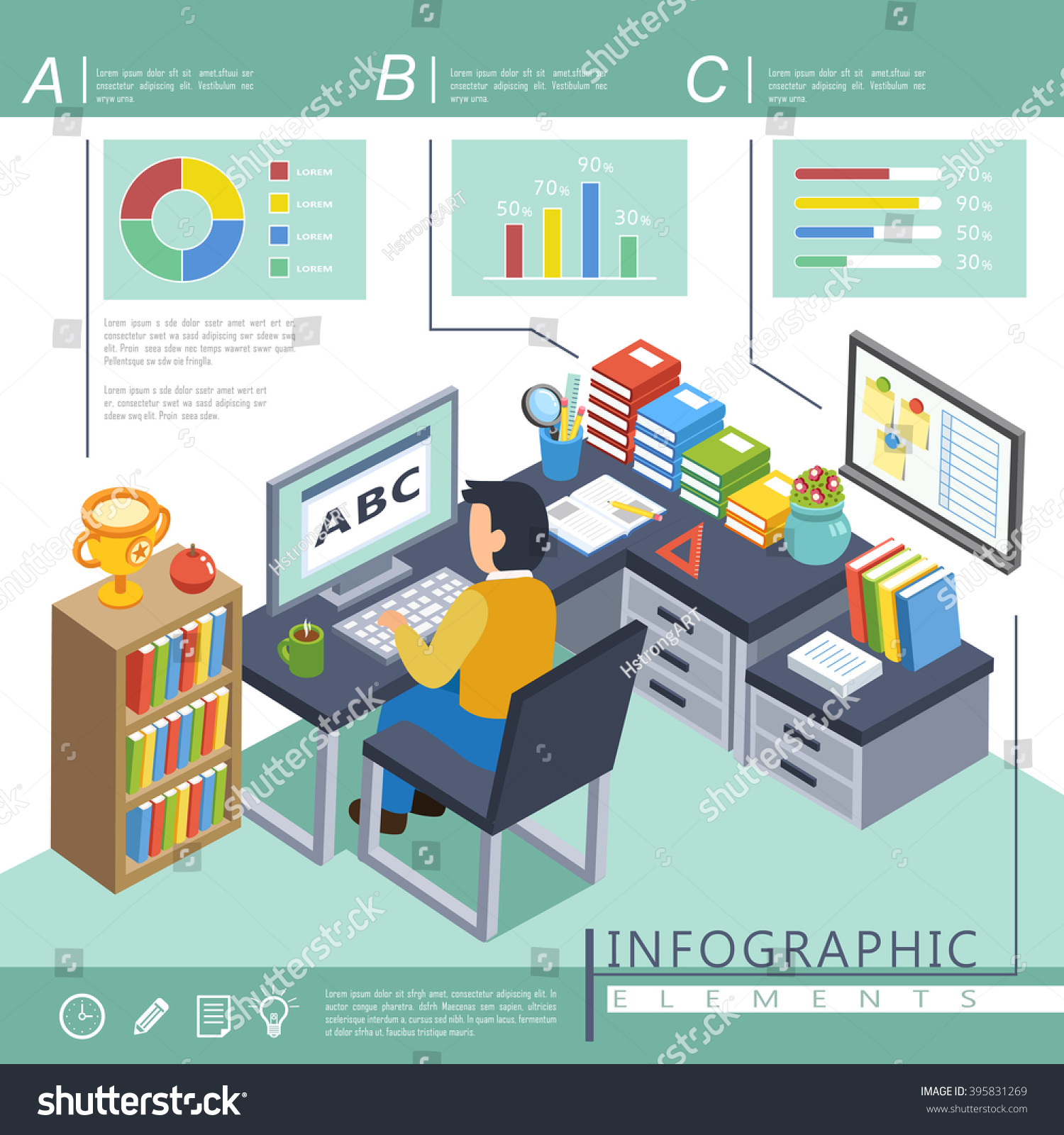 Online Education Infographic Template In 3d Isometric Flat Design