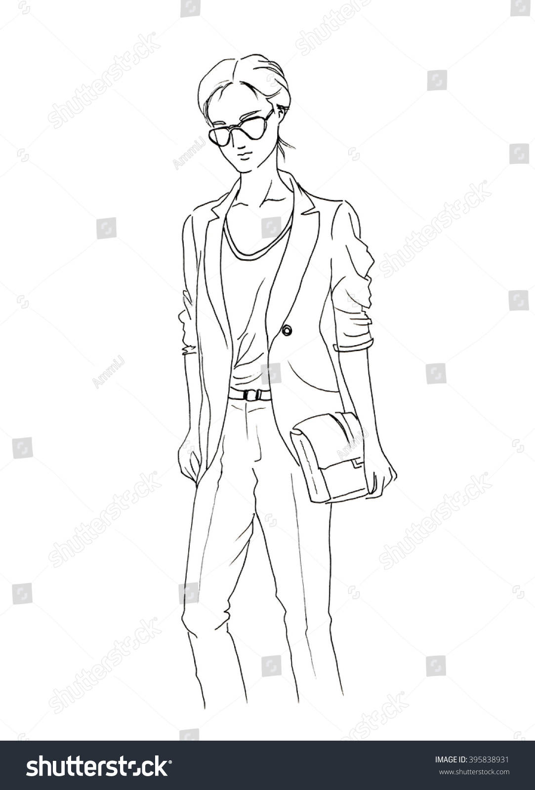Line Drawing Jacket : Women wear glass holding bag jacket stock illustration