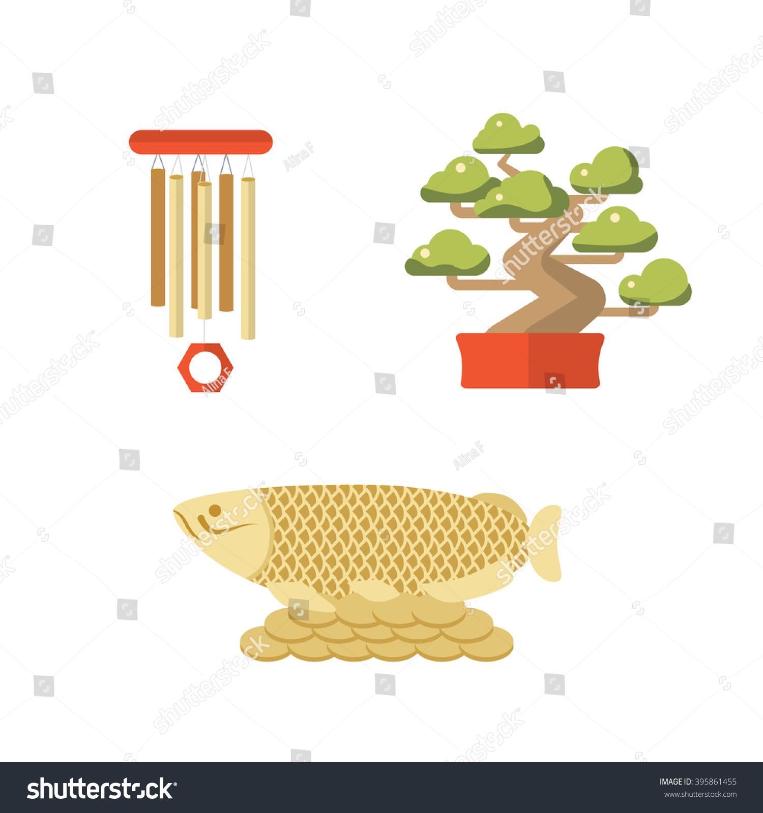 Symbols japan china bonsai fish wind stock vector 395861455 symbols of japan and china bonsai fish wind chime feng shui vector icon travel buycottarizona Choice Image