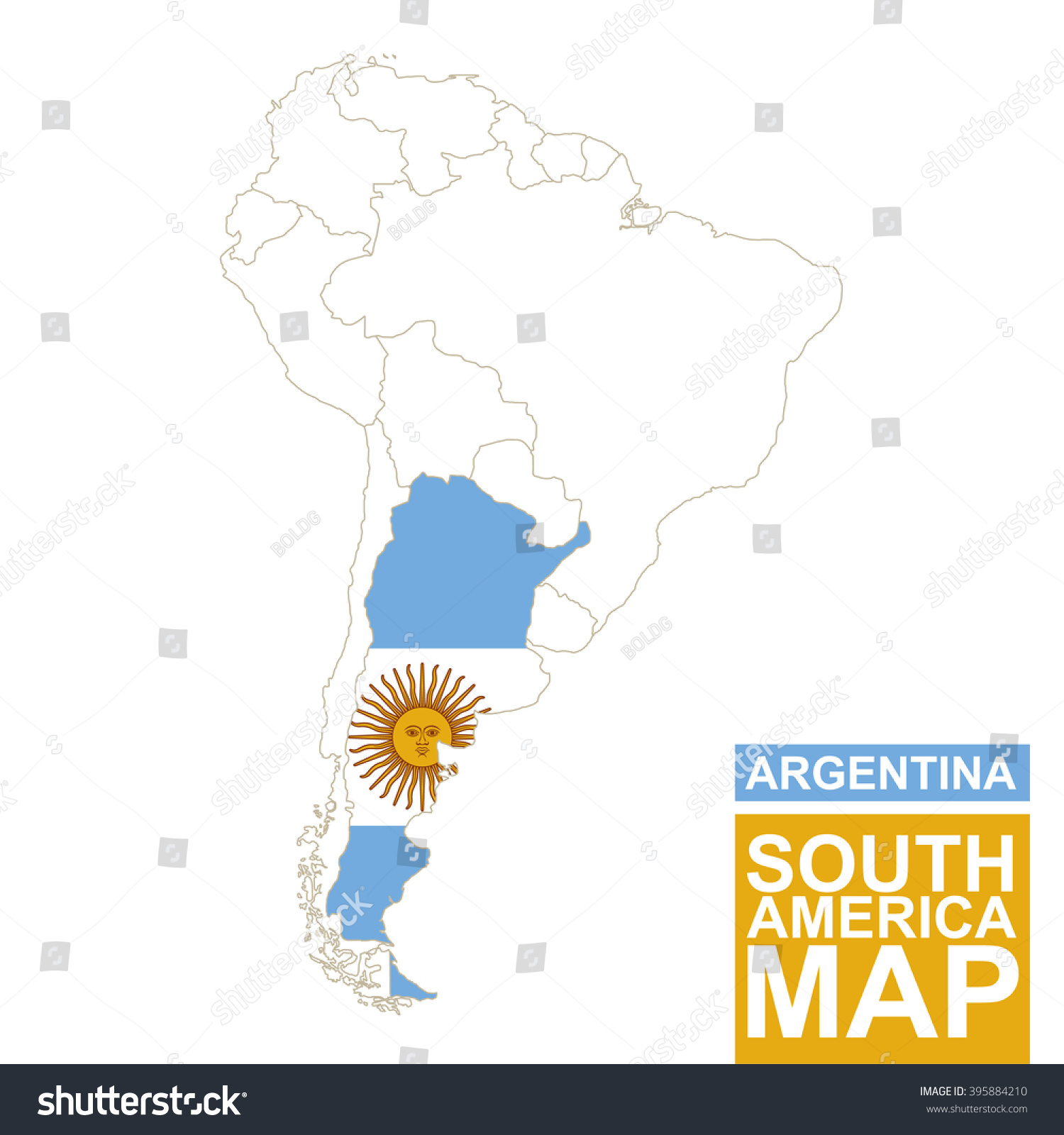 South America Contoured Map Highlighted Argentina Stock Vector