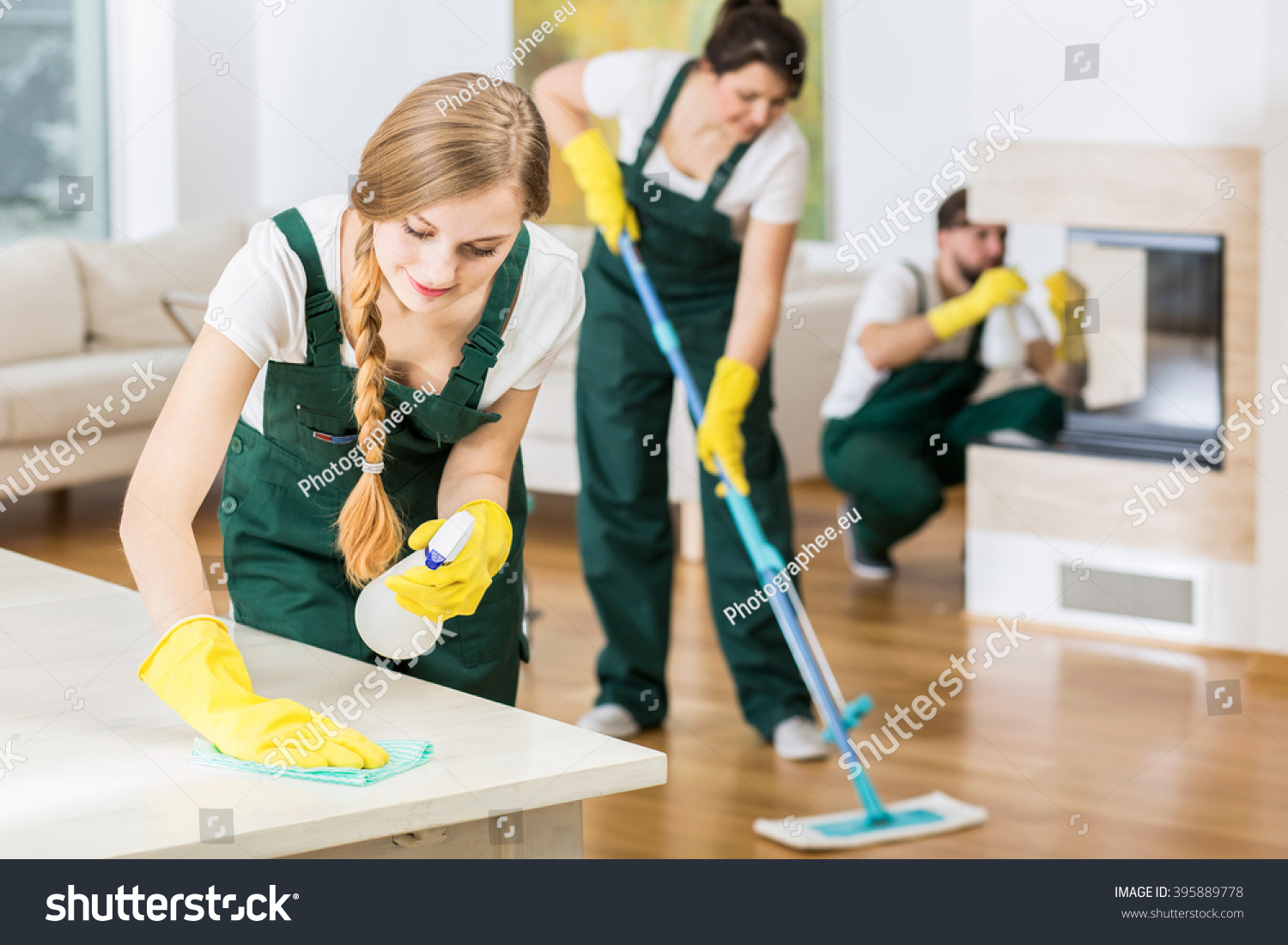 Group Friends Professional Cleaners Tiding Big Stock Photo ...