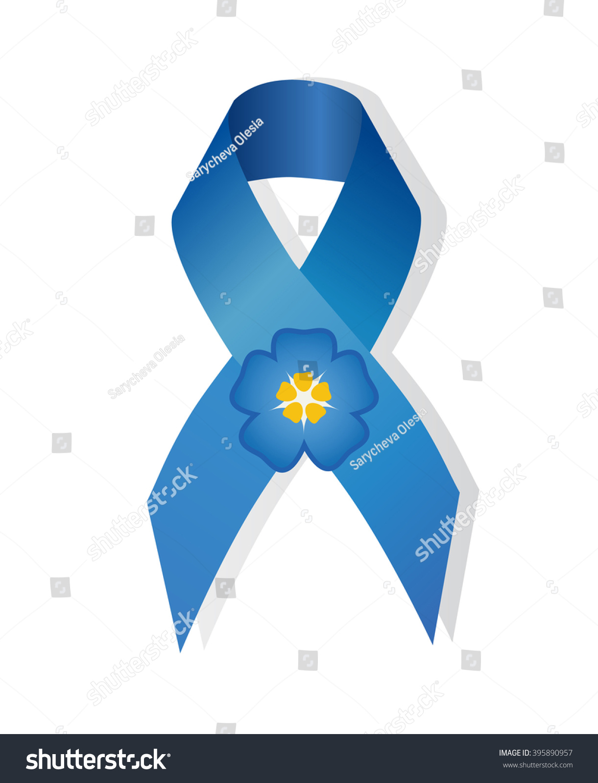 Blue awareness ribbon flower forgetme symbol stock illustration blue awareness ribbon and flower forget me symbol for missing children buycottarizona Image collections