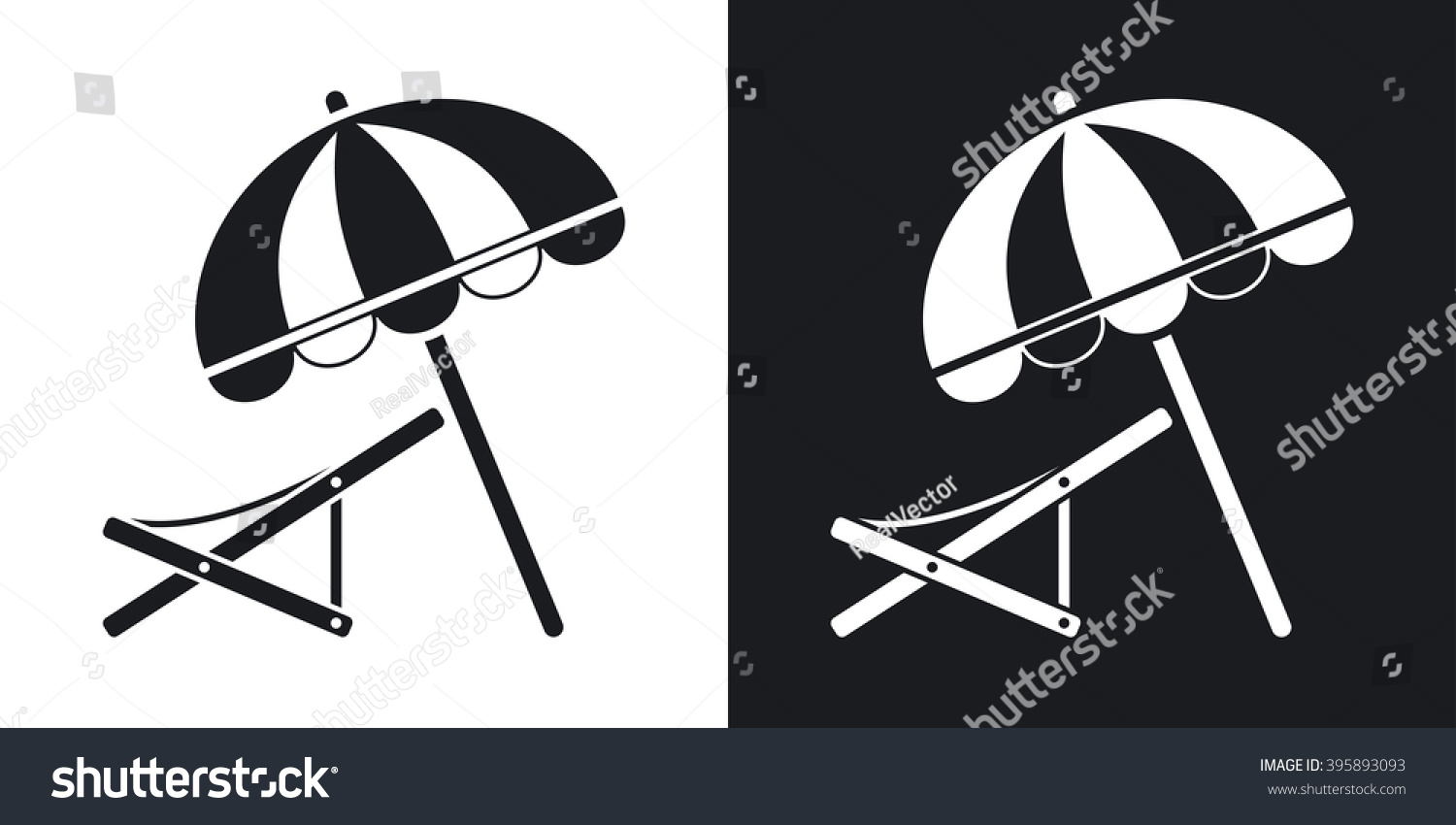 Beach umbrella and chair black and white - Vector Beach Umbrella And Deck Chair Icon Two Tone Version On Black And White