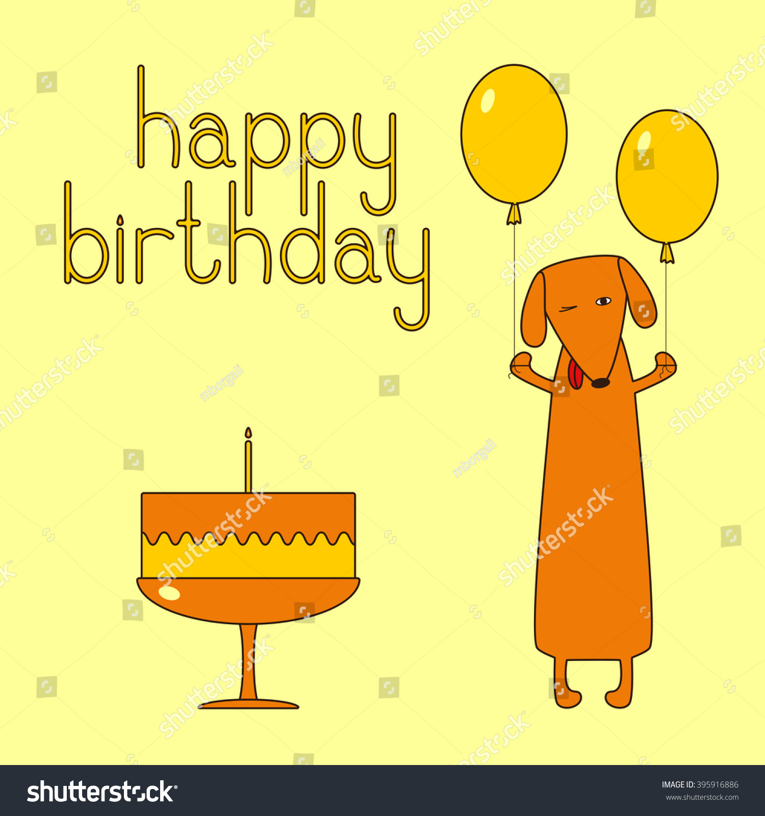 Happy birthday greeting card funny dachshund stock vector 395916886 happy birthday greeting card with funny dachshund holding two balloons cake with one candle kristyandbryce Image collections