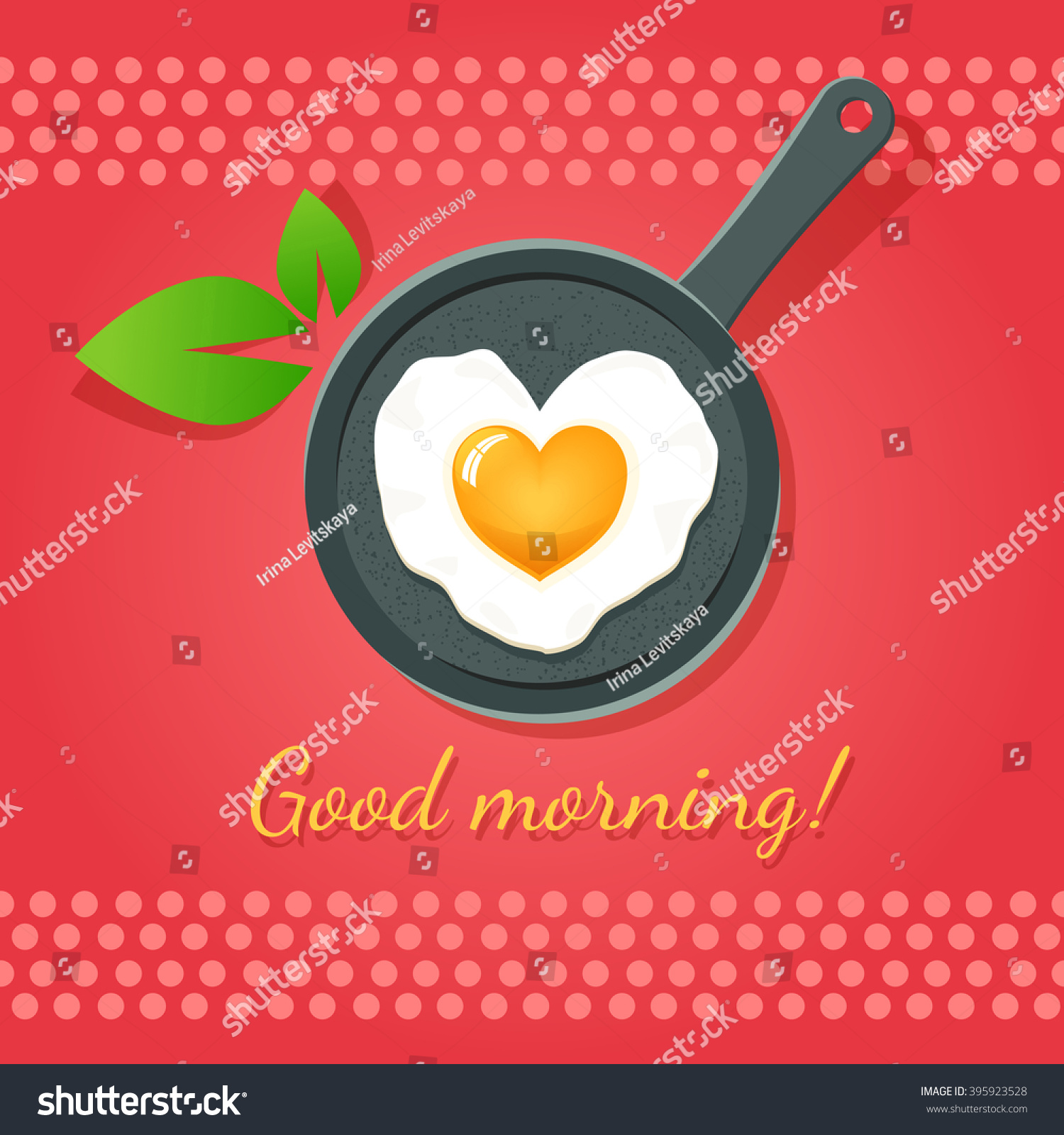 Good Morning Fried Egg Form Heart Stock Vector Royalty Free