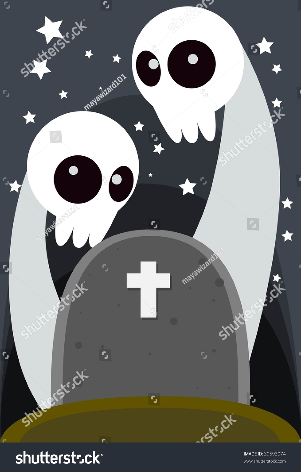 Image Two Halloween Ghost Rise Grave Stock Illustration 39593074 ...