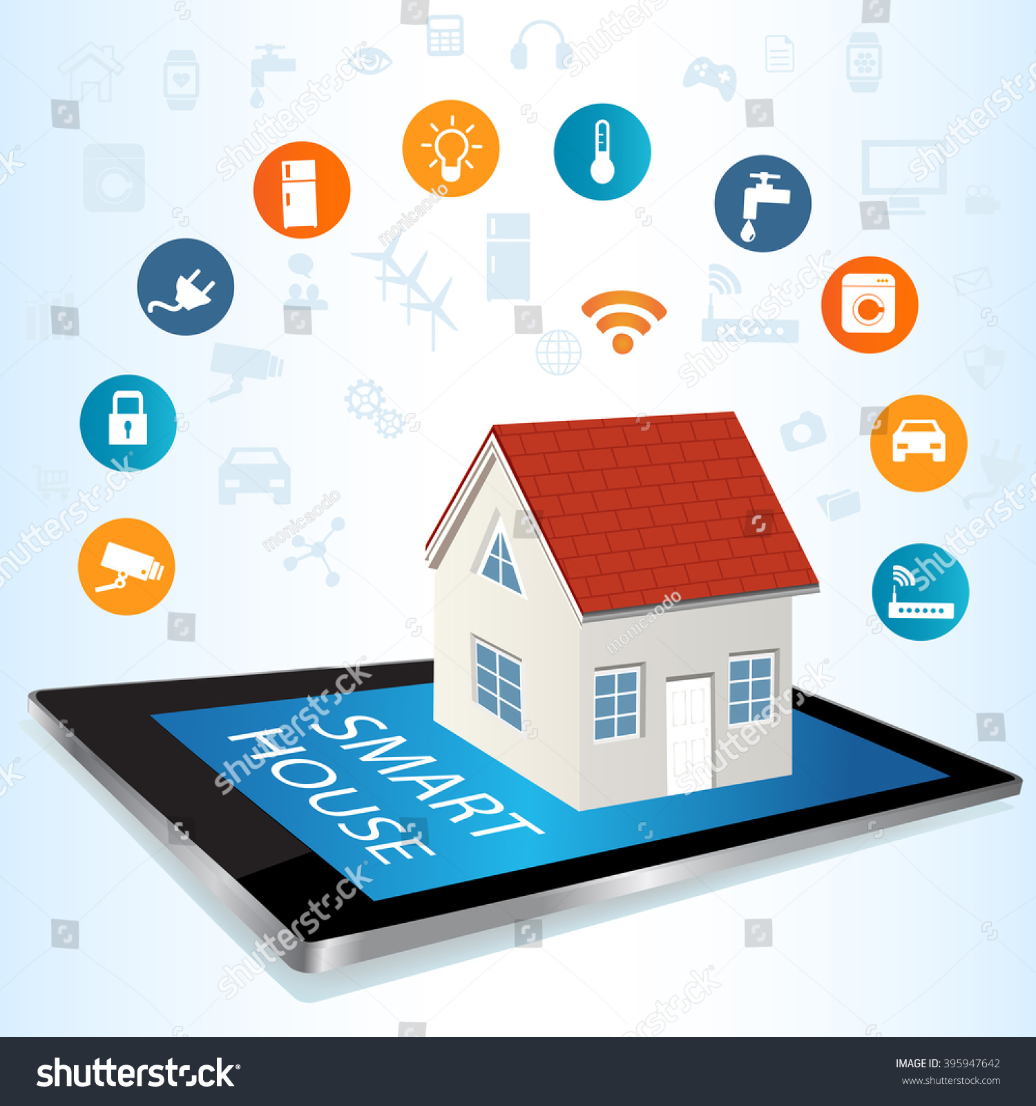 Modern digital tablet pc smart house stock vector for Internet house