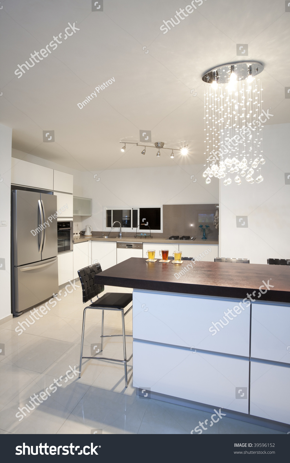 Modern Design Kitchen With White And Wood Elements Stock Photo 39596152 Shutterstock
