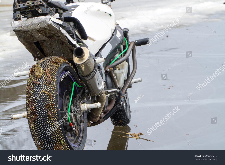 Custom Stunt Motorcycle Water Mirror On Stock Photo Edit Now