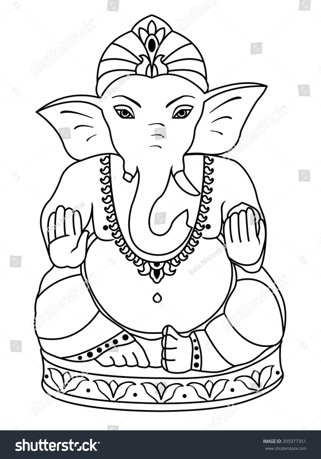 Vector lord ganesha outline sketch of ganesha for coloring book