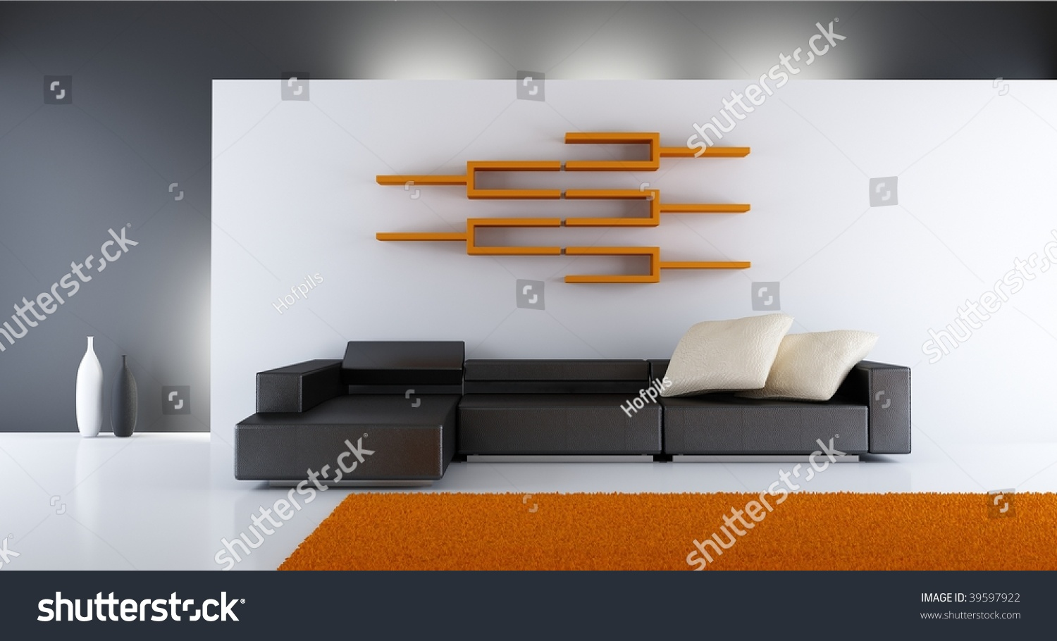 Modern Living Room Setting Couch Rack And Carpet Stock