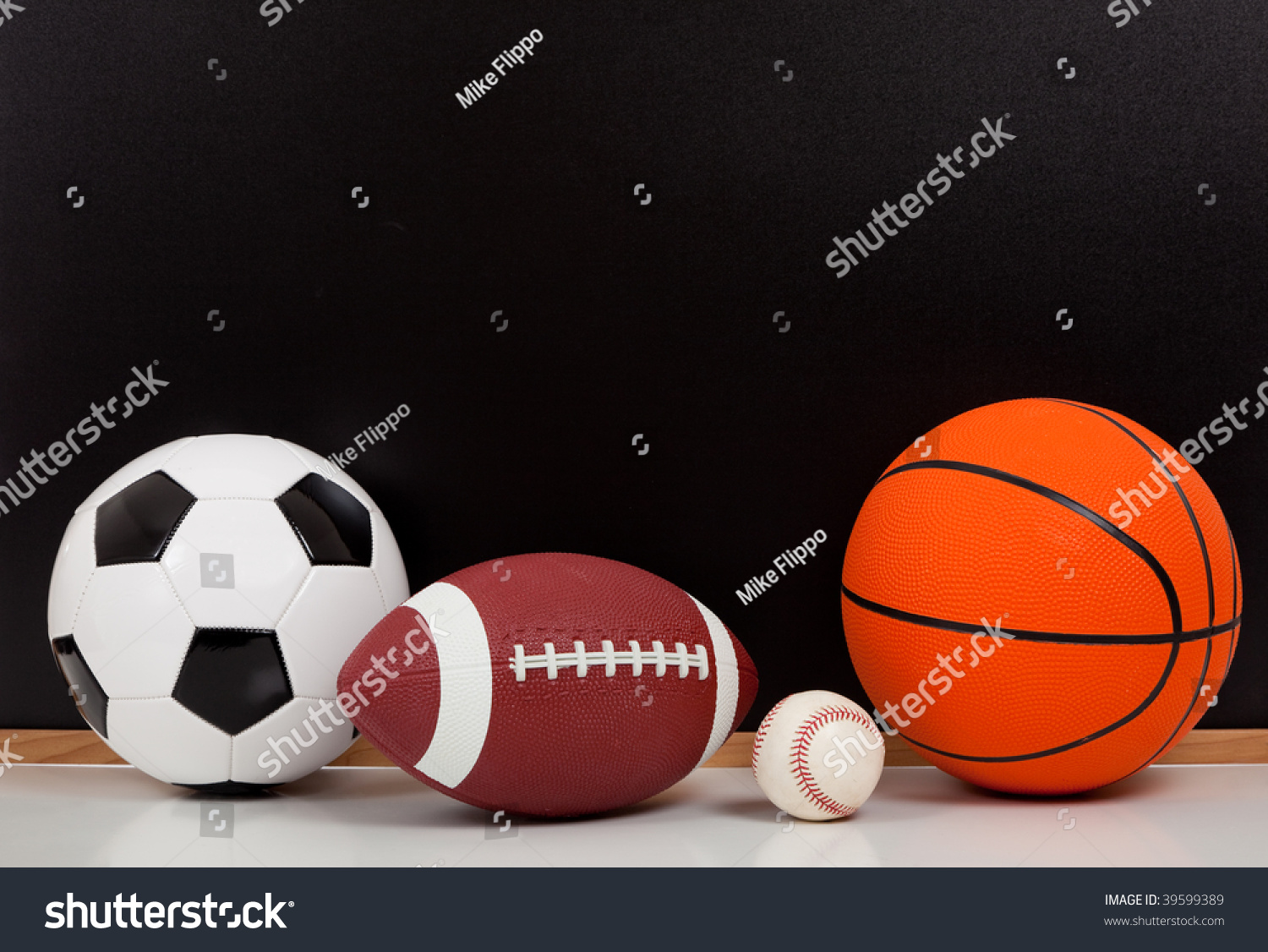 Color Sport Background Football Basketball Hockey Stock: Assorted Sports Balls Including Basketball American Stock