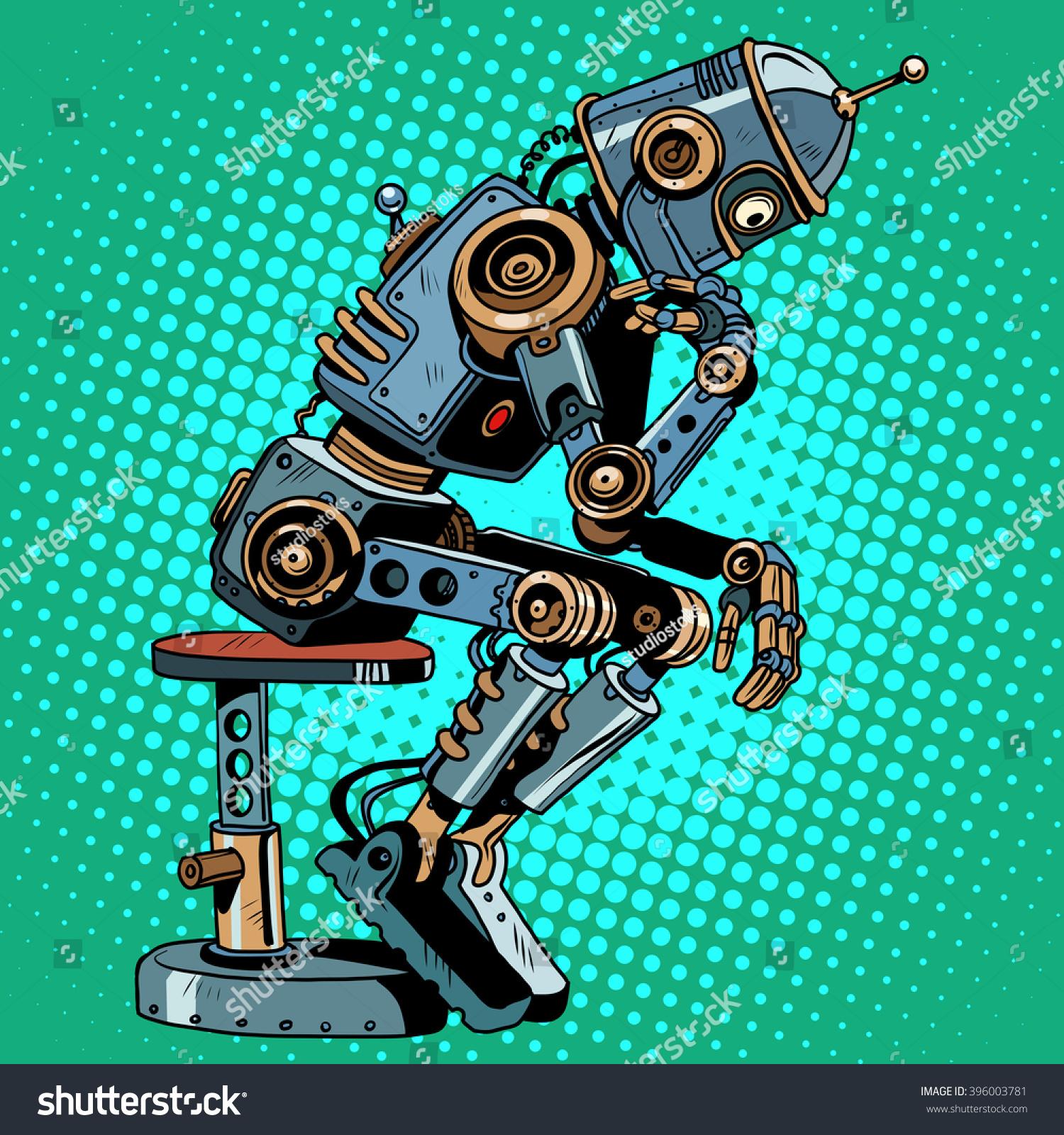 Robot Thinker Artificial Intelligence Progress Stock Vector ...