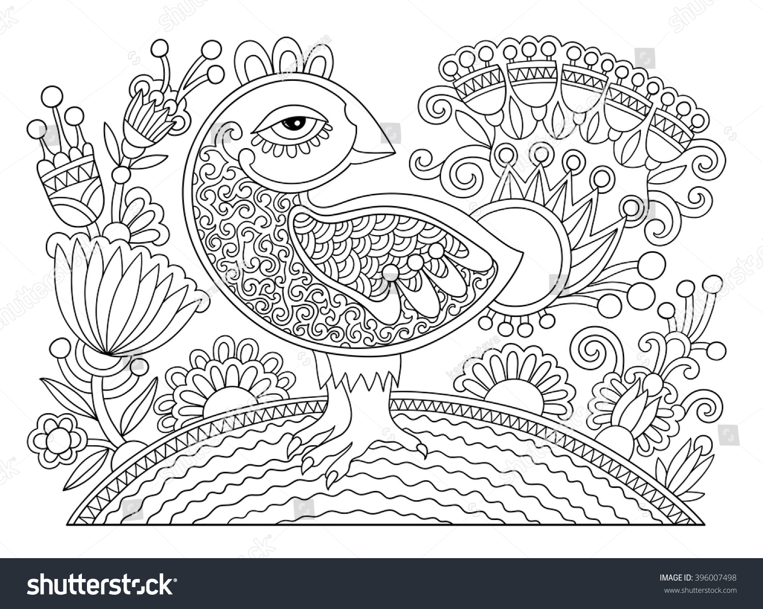 Line Art Joy : Original black white line drawing page stock vector