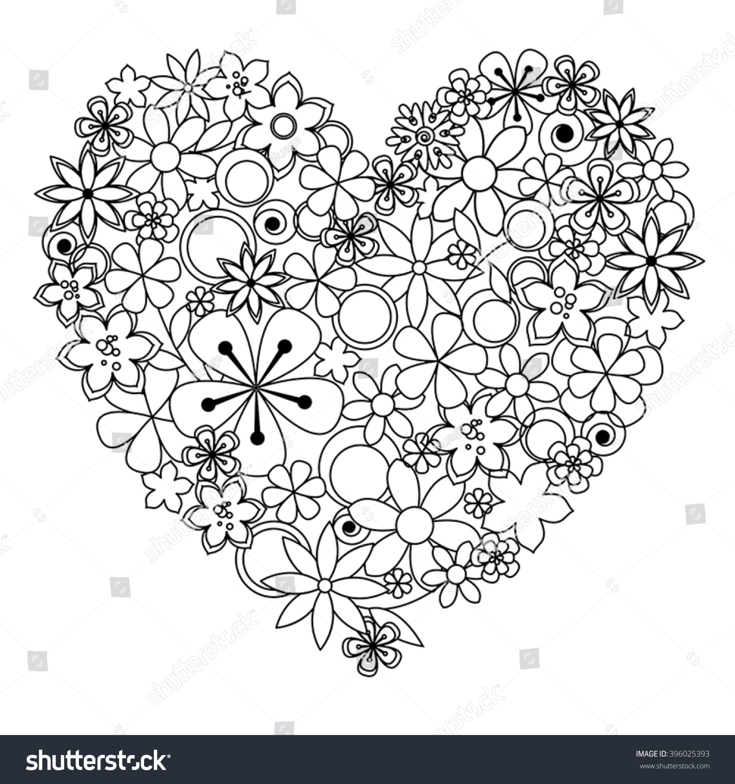 vector decorative heart made black white stock vector 396025393