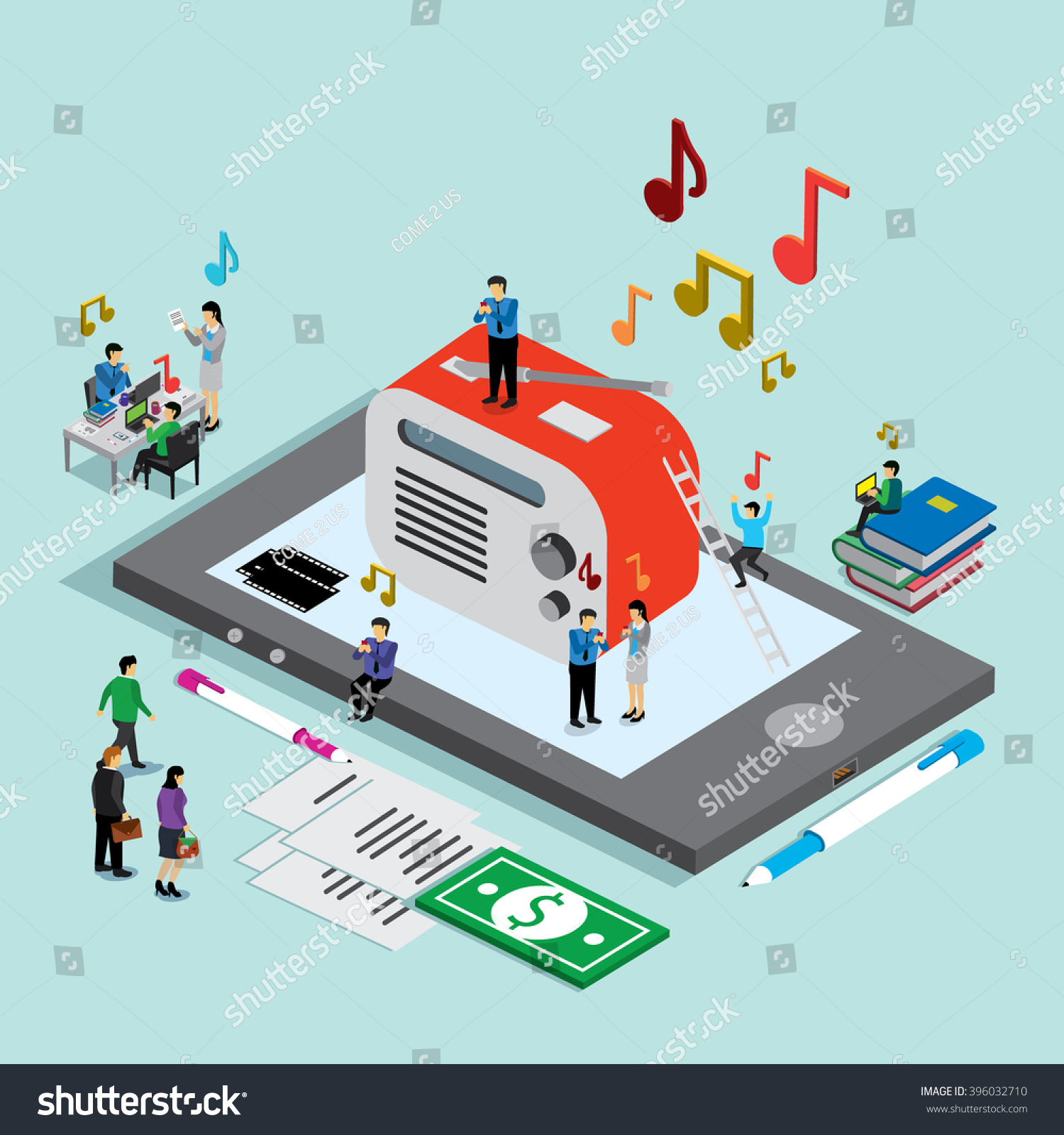 business technology mobile phone music isometric stock vector