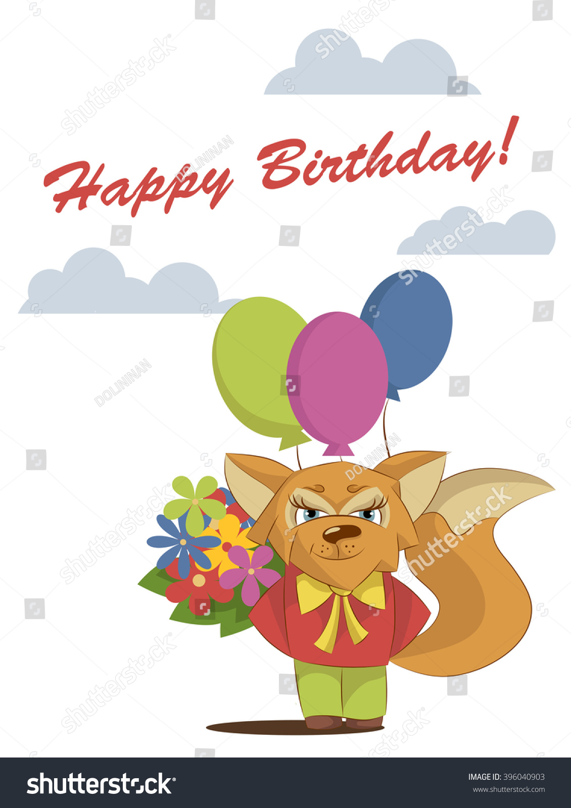 Greeting card happy birthday sly fox stock vector 396040903 greeting card happy birthday with a sly fox with flowers and balloons dhlflorist Choice Image