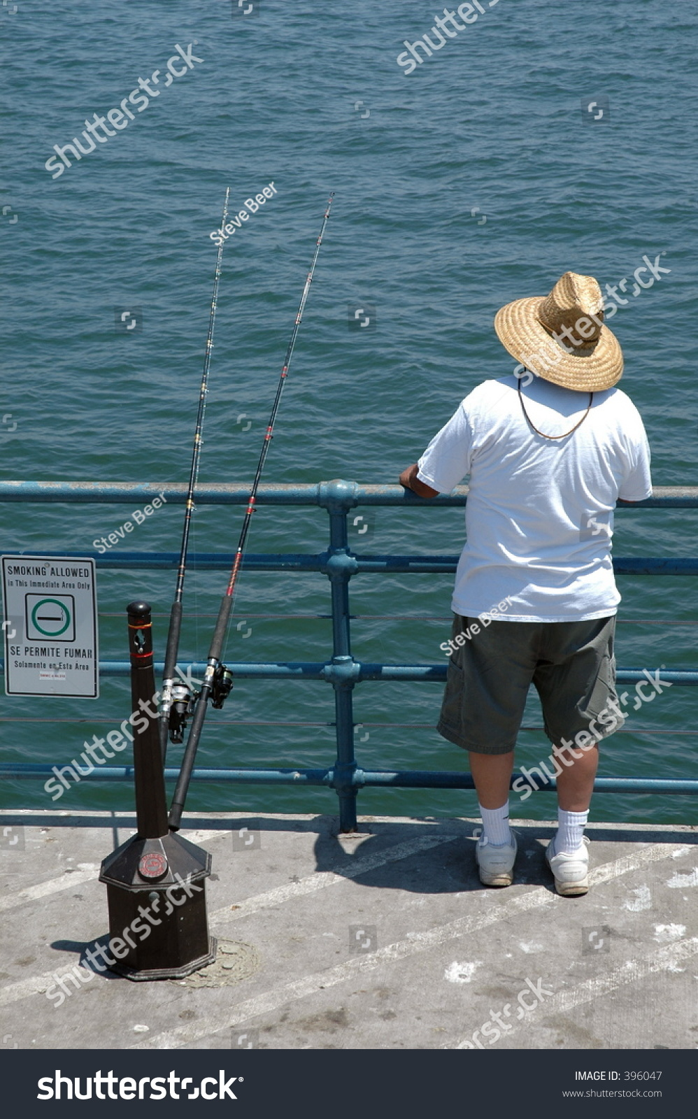 Fishing on santa monica pier los angeles stock photo for Fishing in los angeles