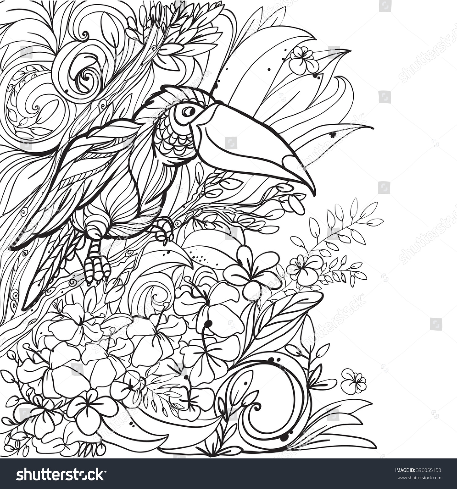 Coloring Pages Tropical Birds Flowers Leaves Stock Vector 396055150 ...