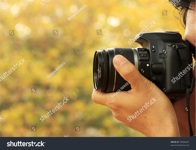 grapher Taking Shoot Digital Camera Zoom Stock