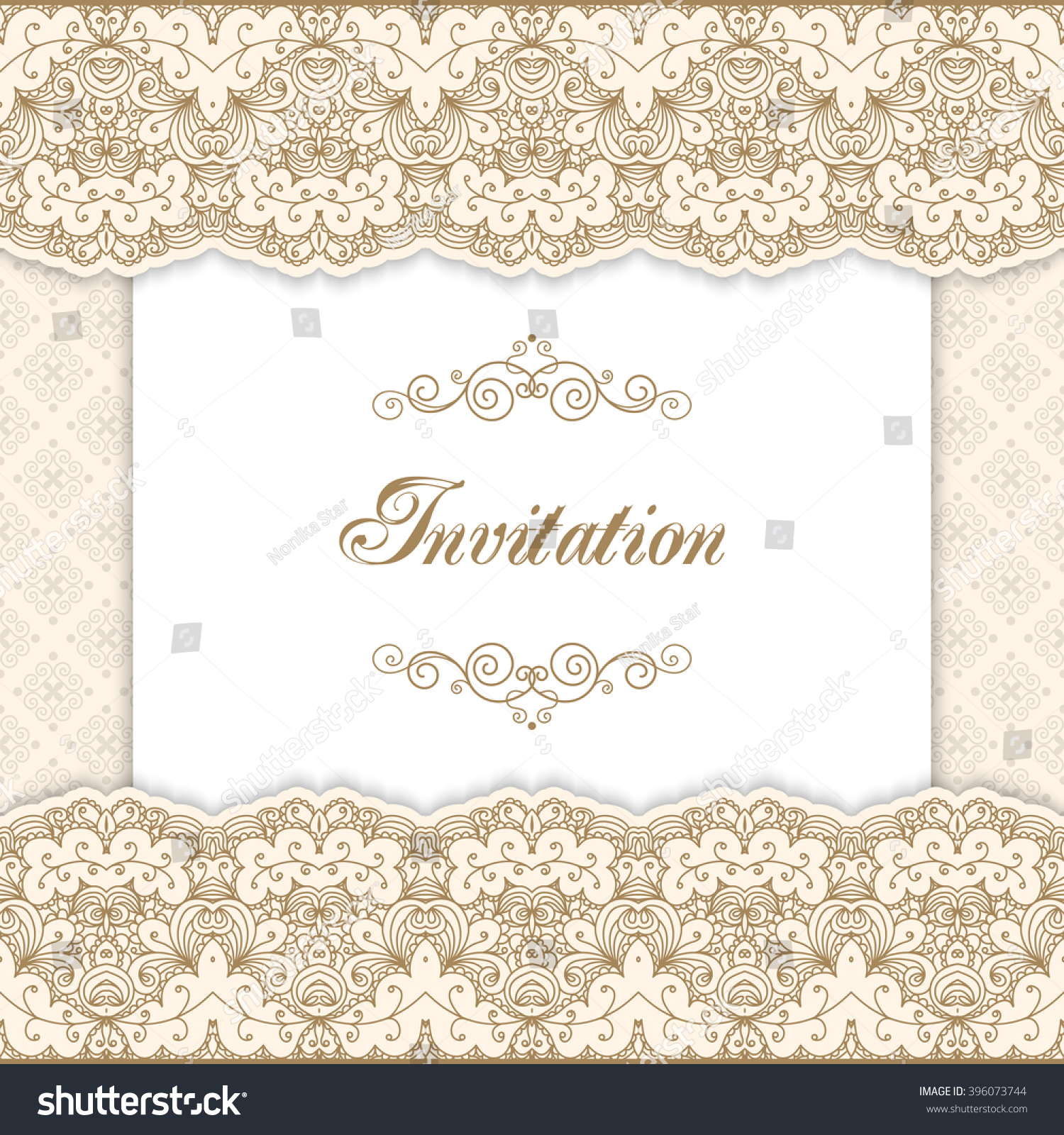 Vintage Invitation Template With Lacy Borders. Vector Illustration