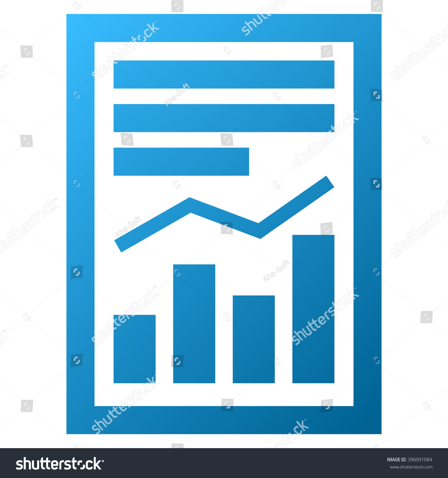 Chart Report Page Vector Toolbar Icon Stock Vector (2018) 396091084 ...