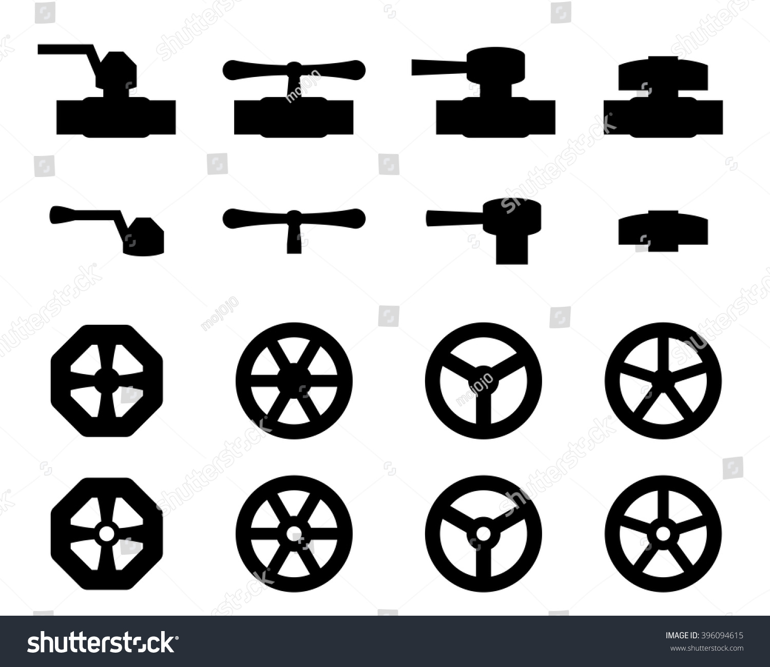 Set Water Valve Icons Silhouette Style Stock Vector Royalty Free